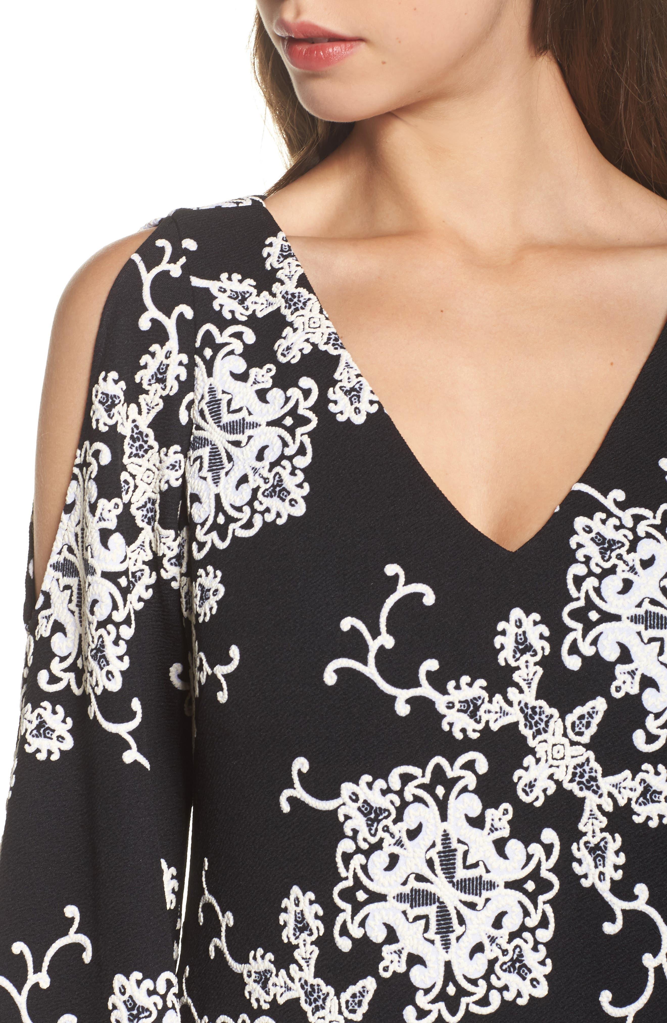 Cold Shoulder Shift Dress,                             Alternate thumbnail 4, color,                             Black/ Ivory
