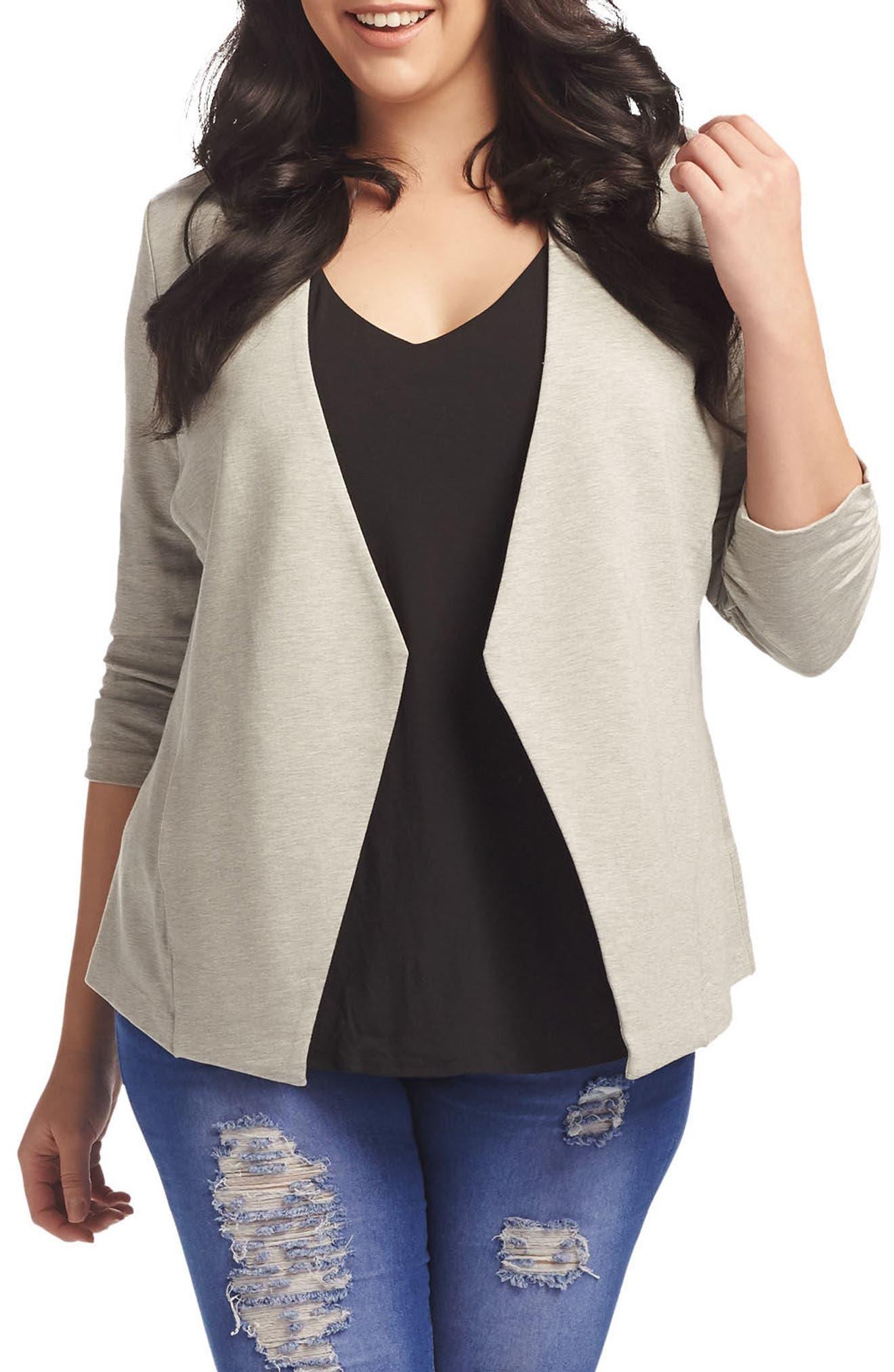'Olga' Knit Jacket,                             Main thumbnail 1, color,                             Heather Grey