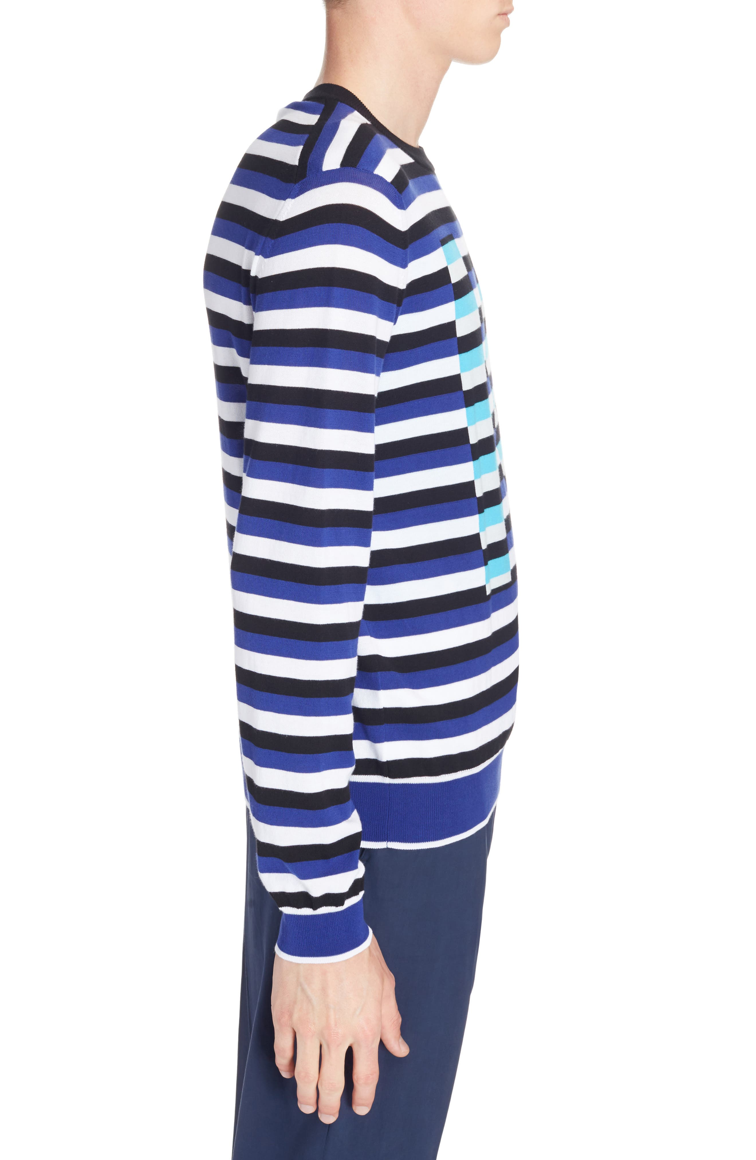 Large K Stripe Sweater,                             Alternate thumbnail 3, color,                             French Blue