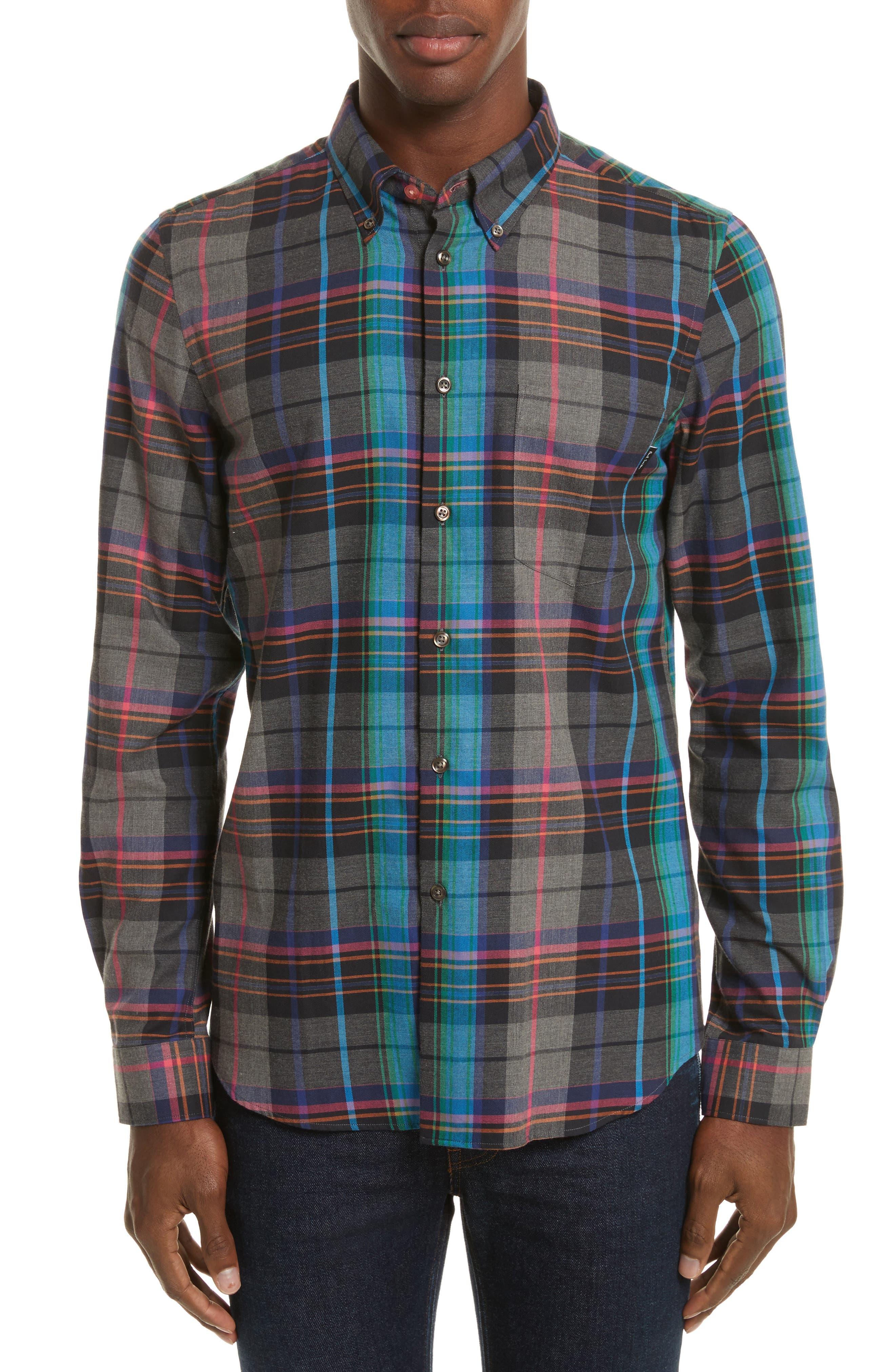 Plaid Woven Shirt,                         Main,                         color, Grey