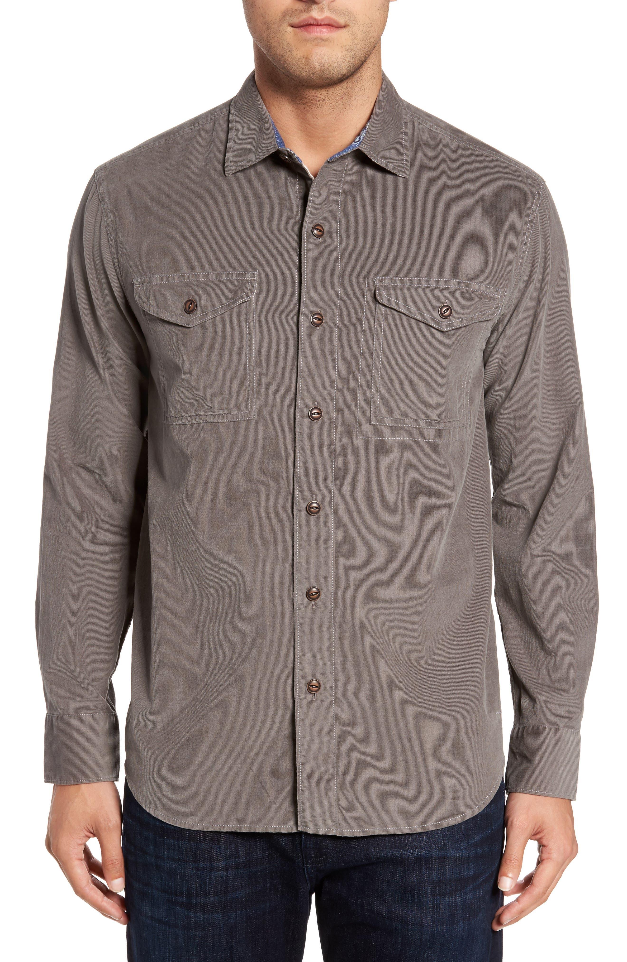 Harrison Cord Standard Fit Shirt,                         Main,                         color, Pebble Grey