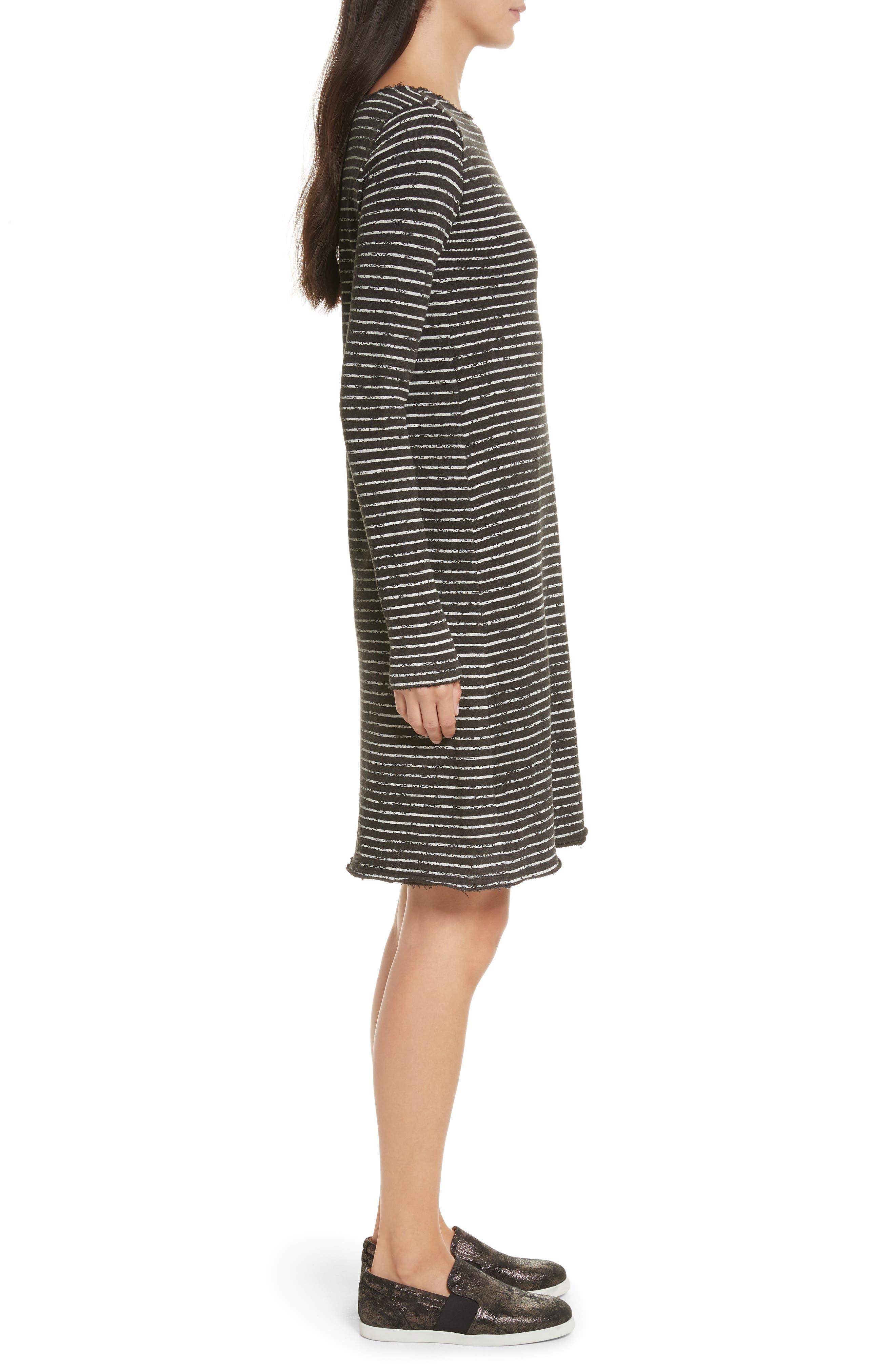 Broken Stripe French Terry Dress,                             Alternate thumbnail 3, color,                             Charcoal Combo Stripe