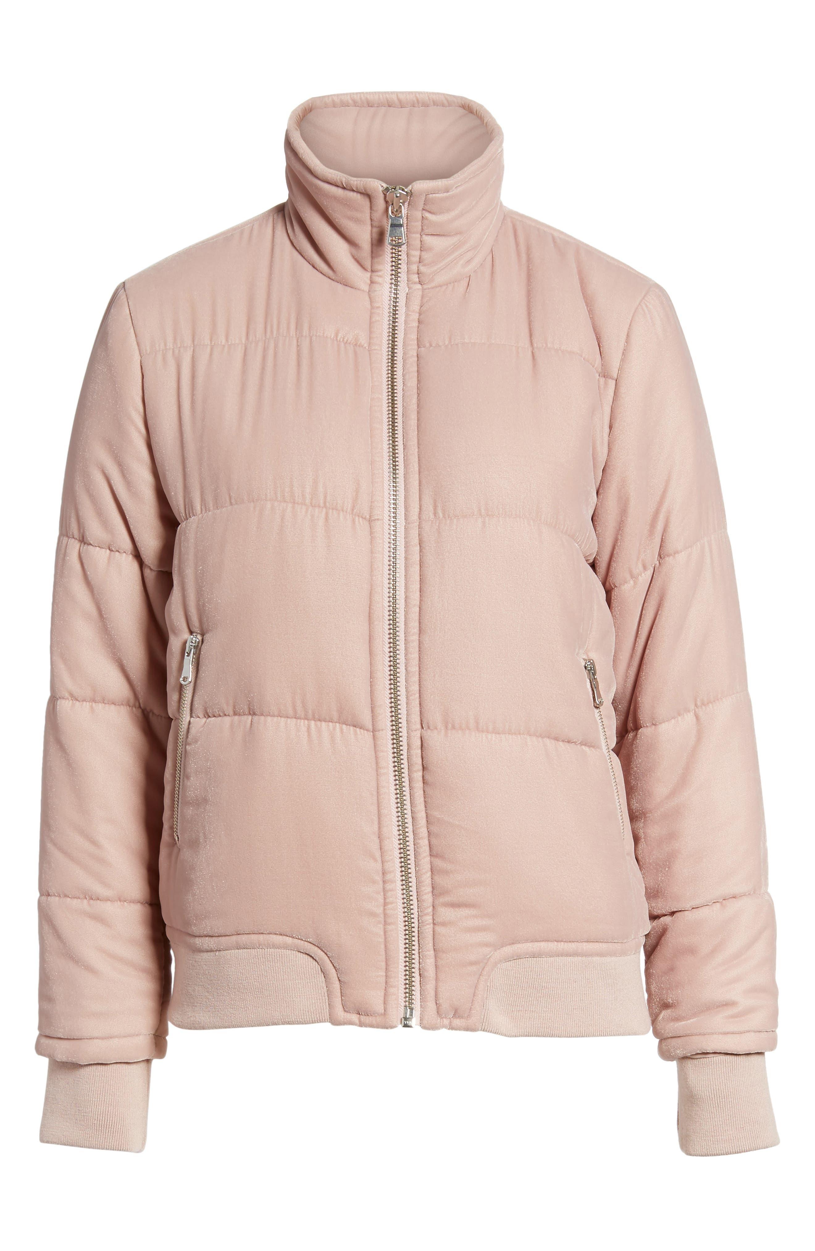 Quilted Velvet Jacket,                             Alternate thumbnail 6, color,                             Pink Adobe