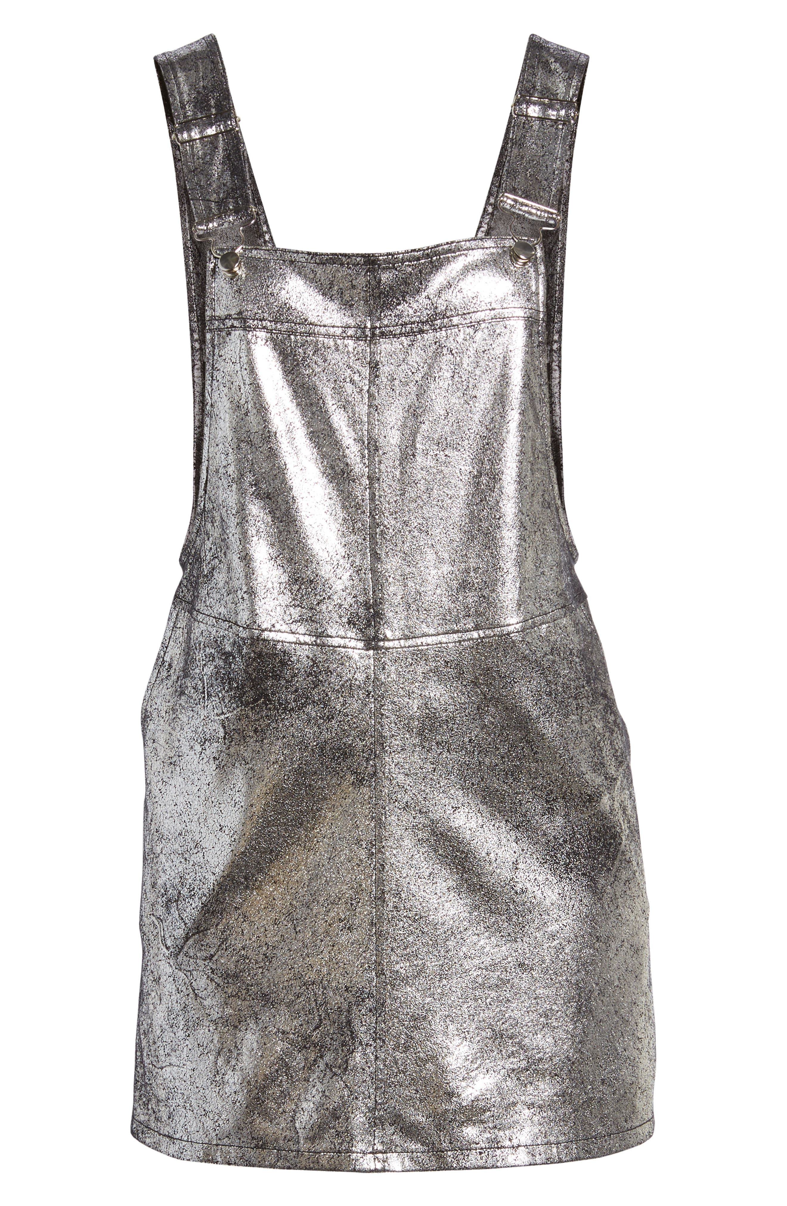 Metallic Overall Minidress,                             Alternate thumbnail 6, color,                             Now Or Never
