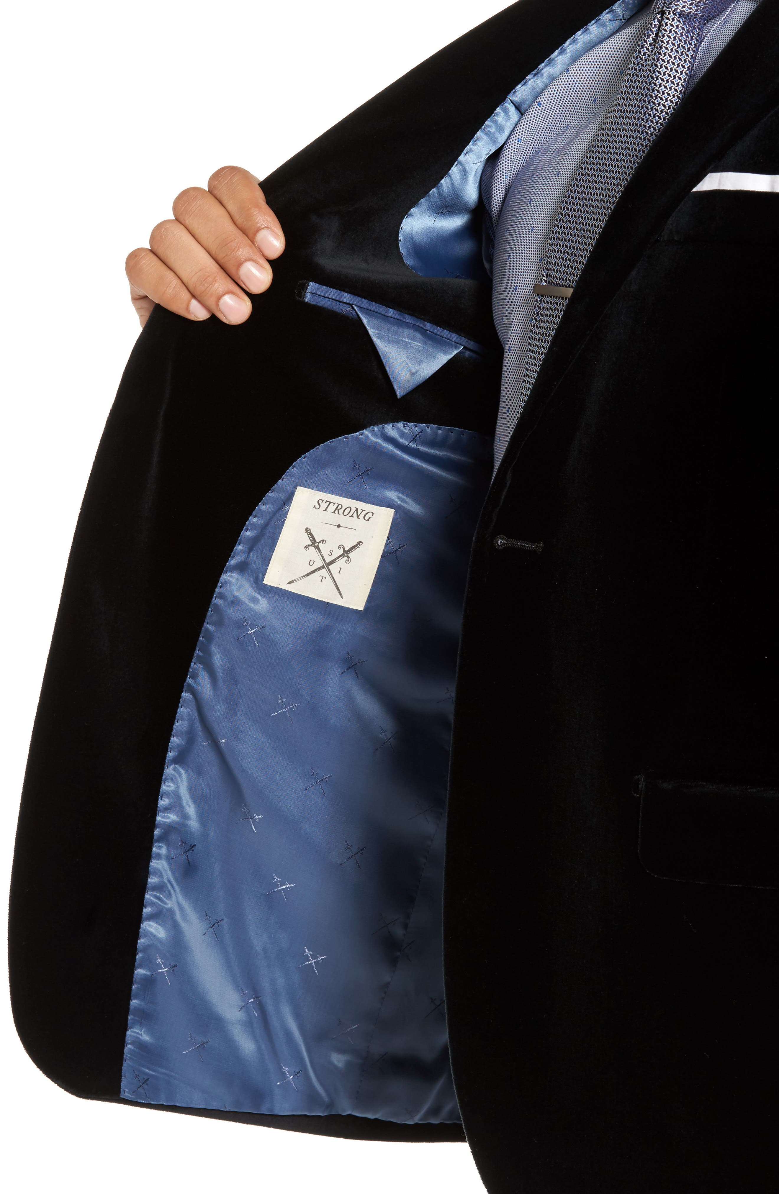 Alternate Image 4  - Strong Suit Noble Trim Fit Velvet Blazer