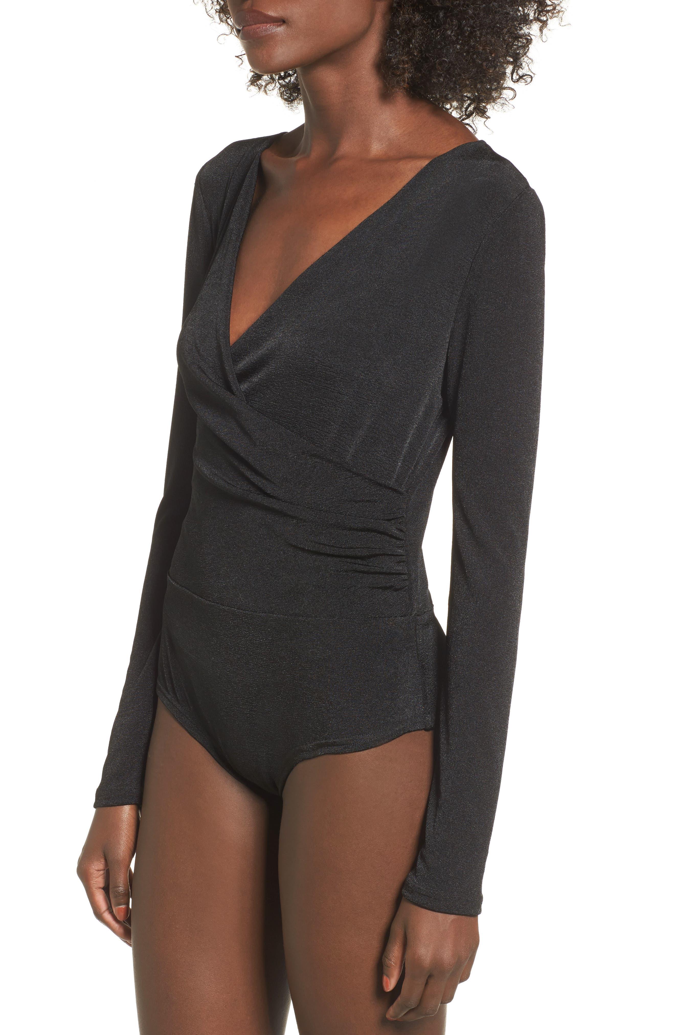 Surplice Bodysuit,                             Alternate thumbnail 3, color,                             Black