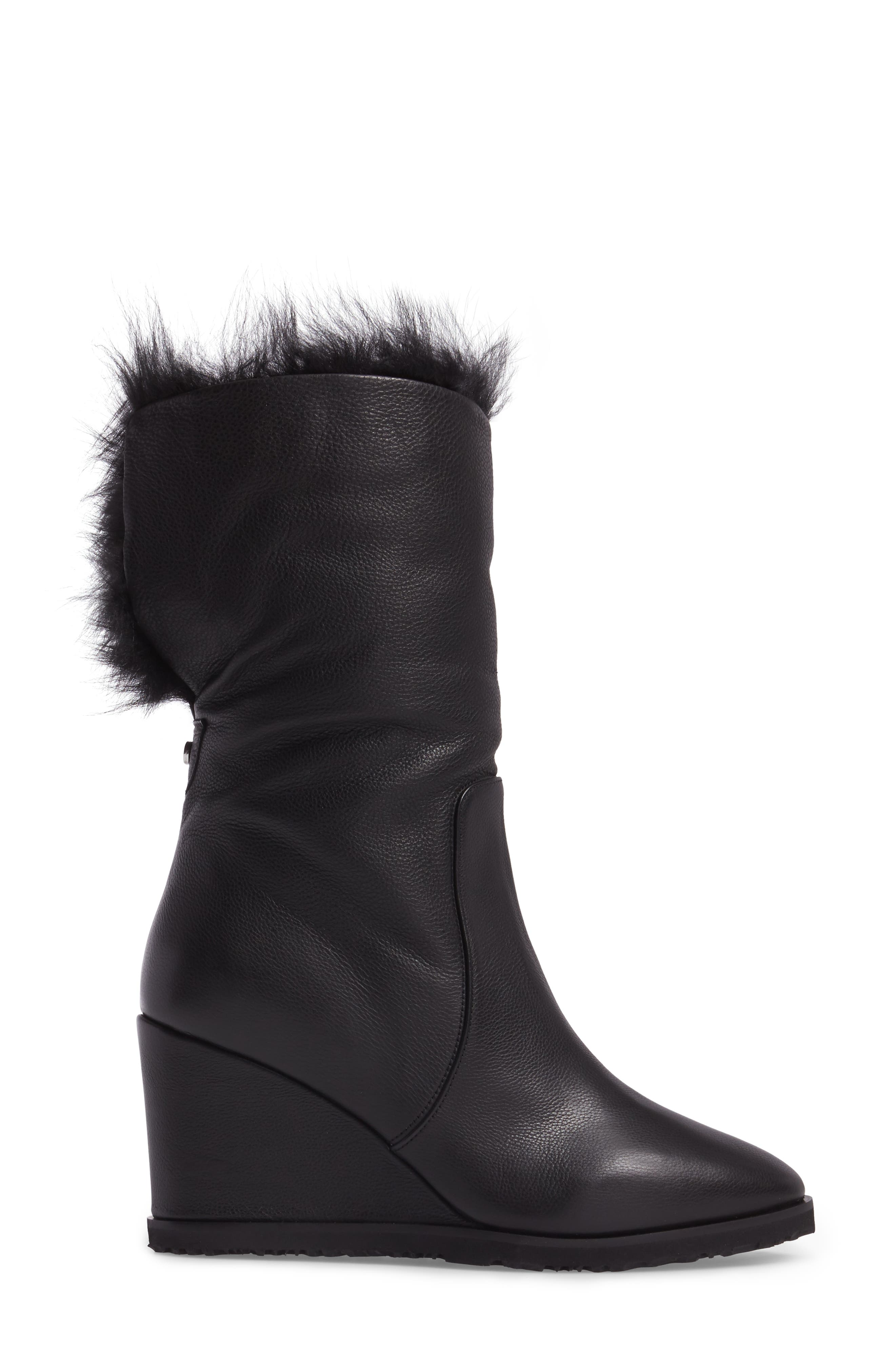 Massima Genuine Shearling Wedge Boot,                             Alternate thumbnail 3, color,                             Black Leather