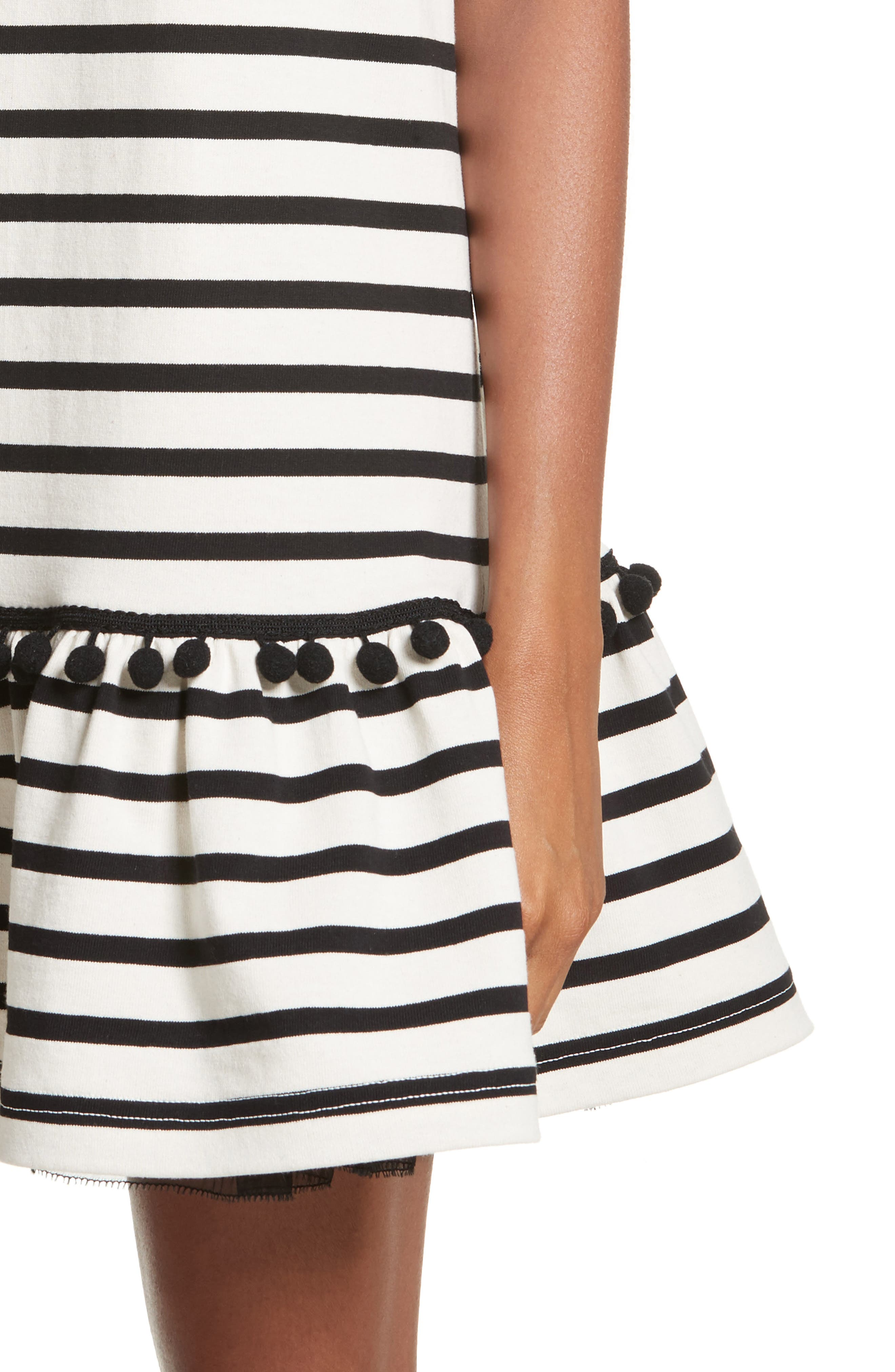Pompom Stripe Drop Waist Dress,                             Alternate thumbnail 4, color,                             Ecru/ Black