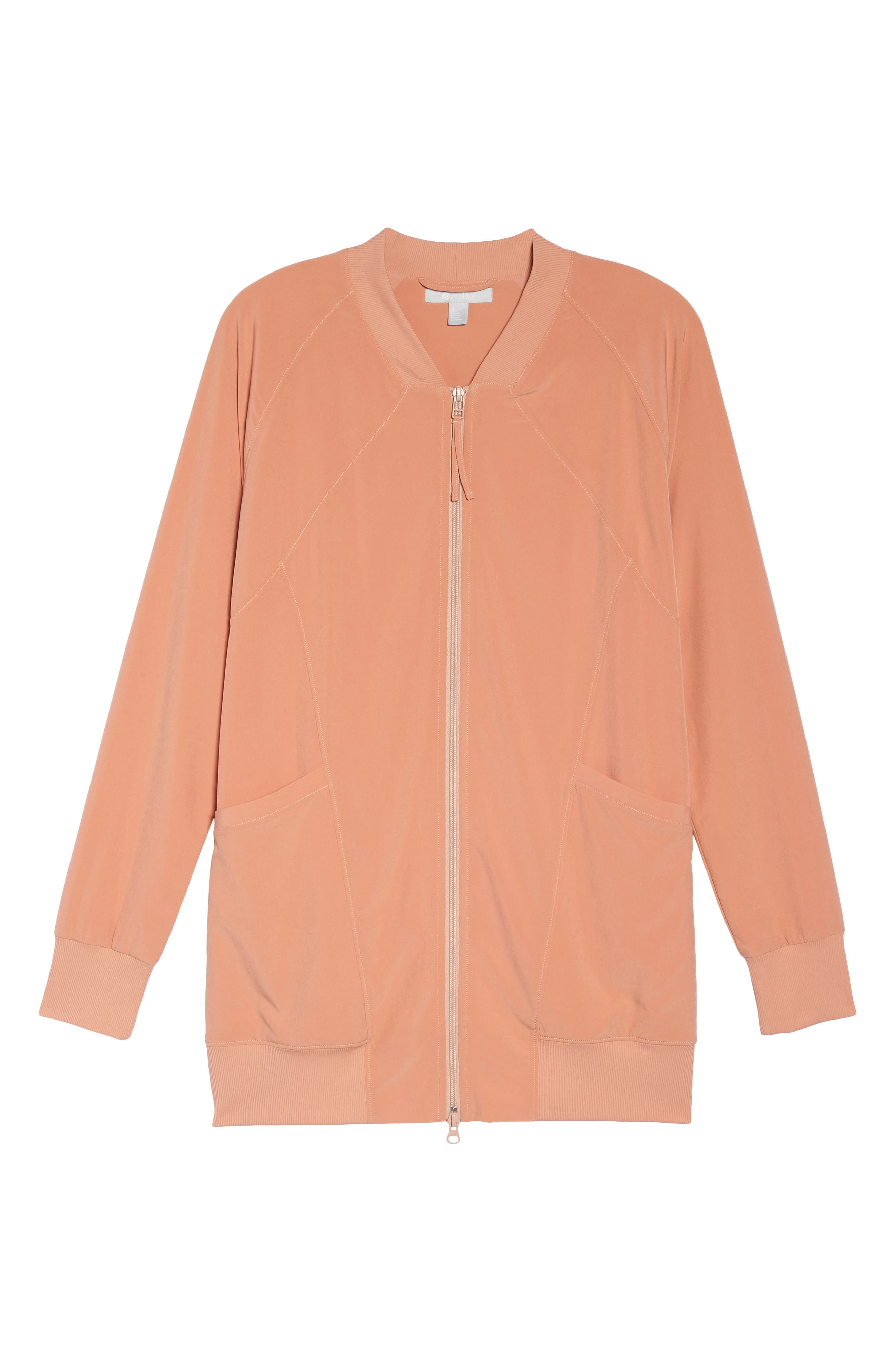 Long Bomber Jacket,                             Alternate thumbnail 6, color,                             Coral Muted