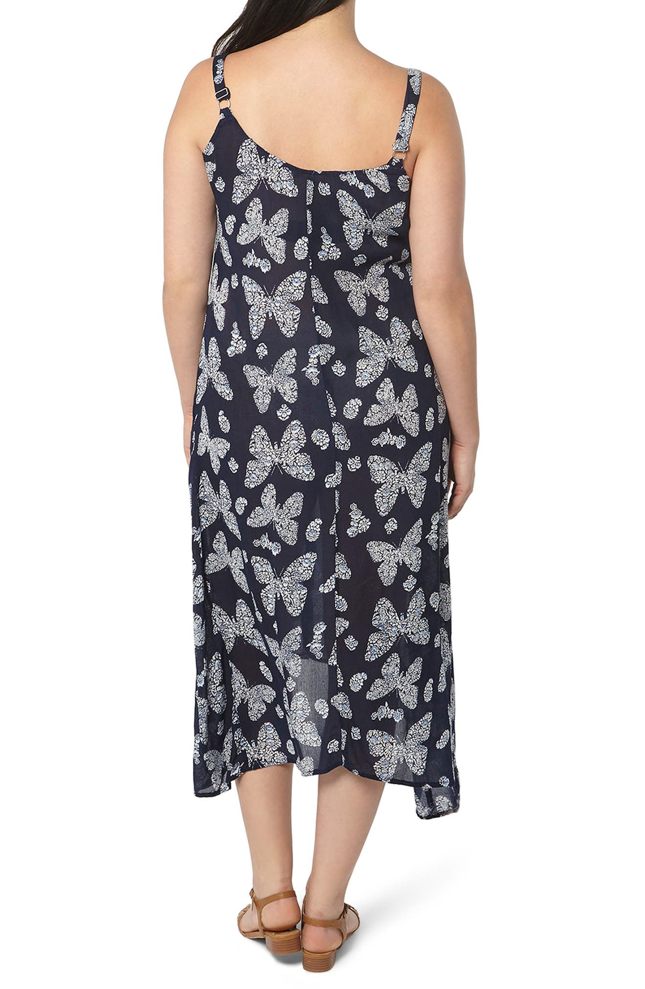 Alternate Image 2  - Evans Butterfly Print Handkerchief Hem Maxi Dress (Plus Size)