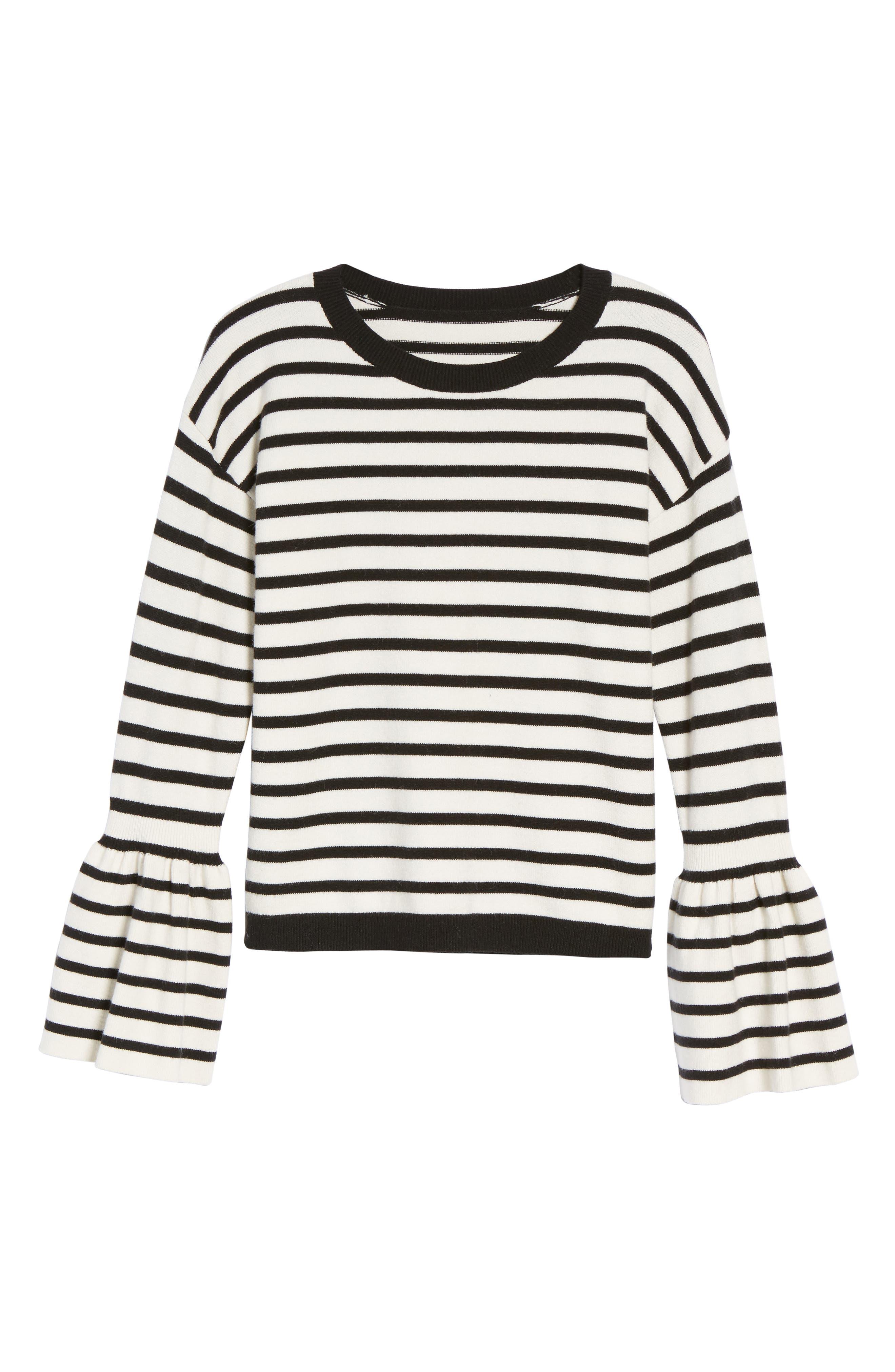 Bell Sleeve Sweater,                             Alternate thumbnail 6, color,                             Black- Ivory Stripe