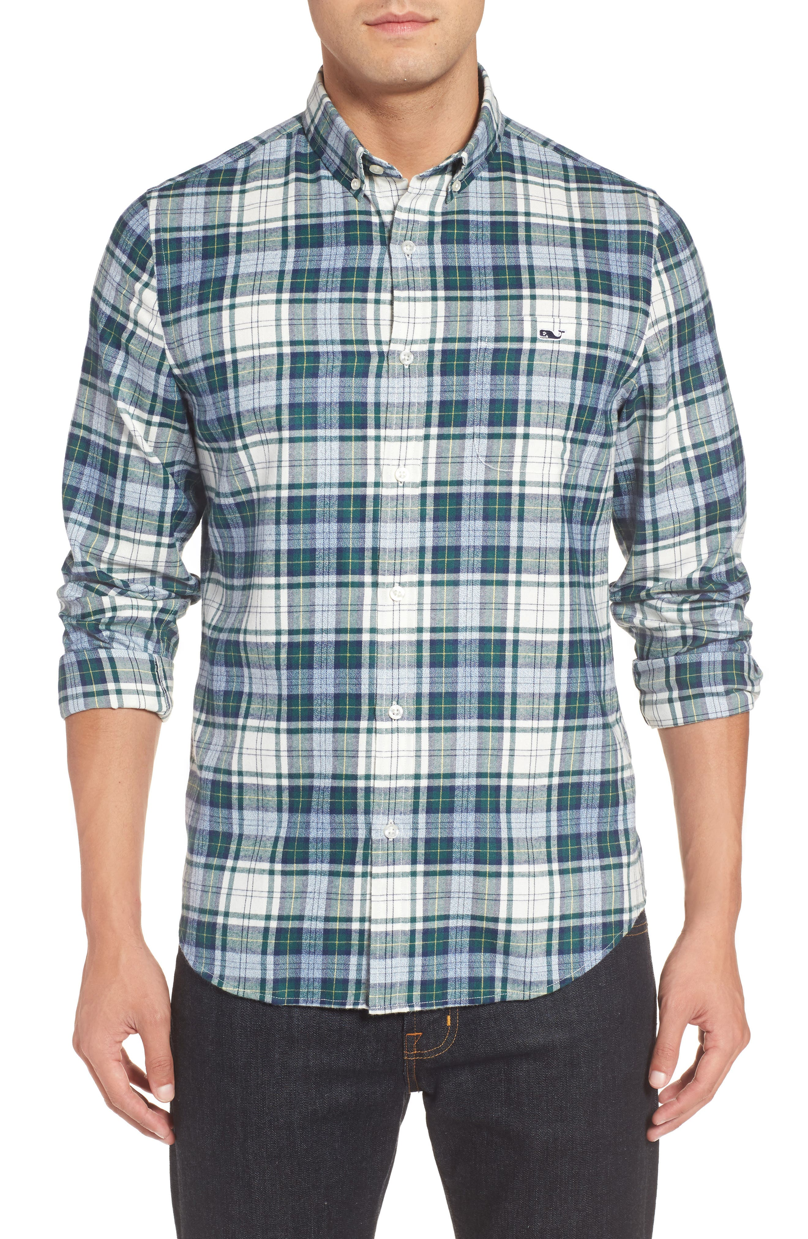 Tucker Hayward Point Slim Fit Plaid Sport Shirt,                             Main thumbnail 1, color,                             Charleston Green