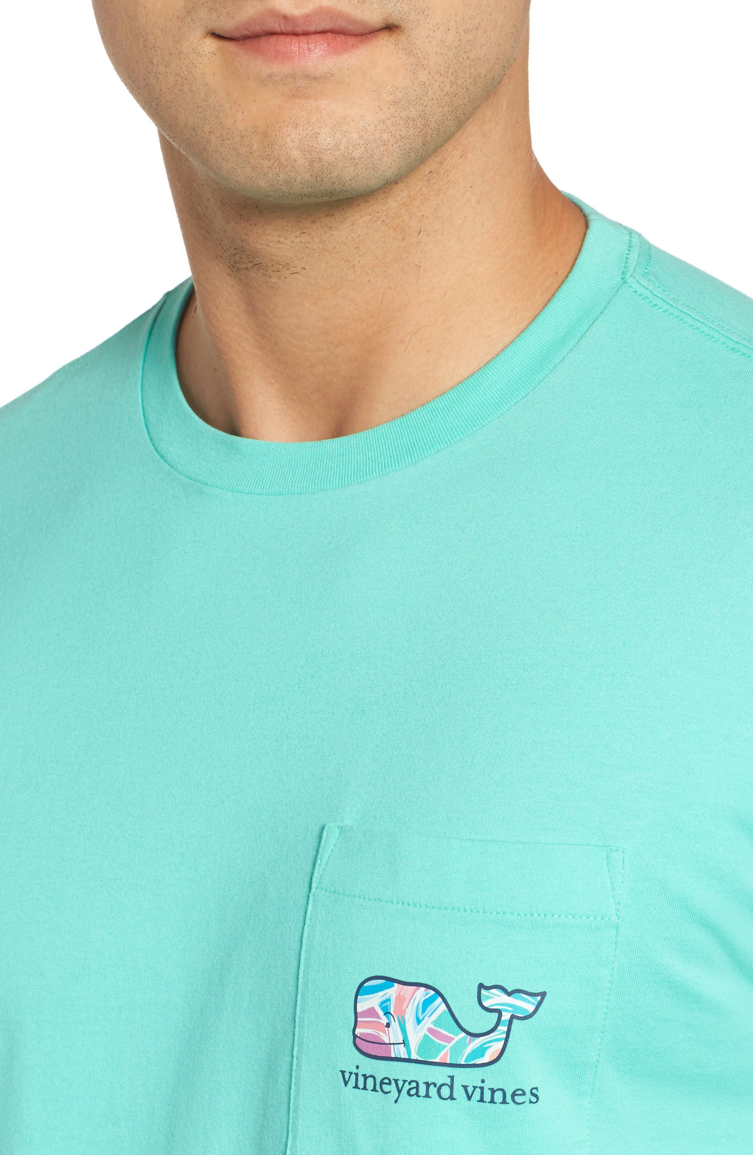 Floral Whale Fill Pocket T-Shirt,                             Alternate thumbnail 4, color,                             Antigua Green