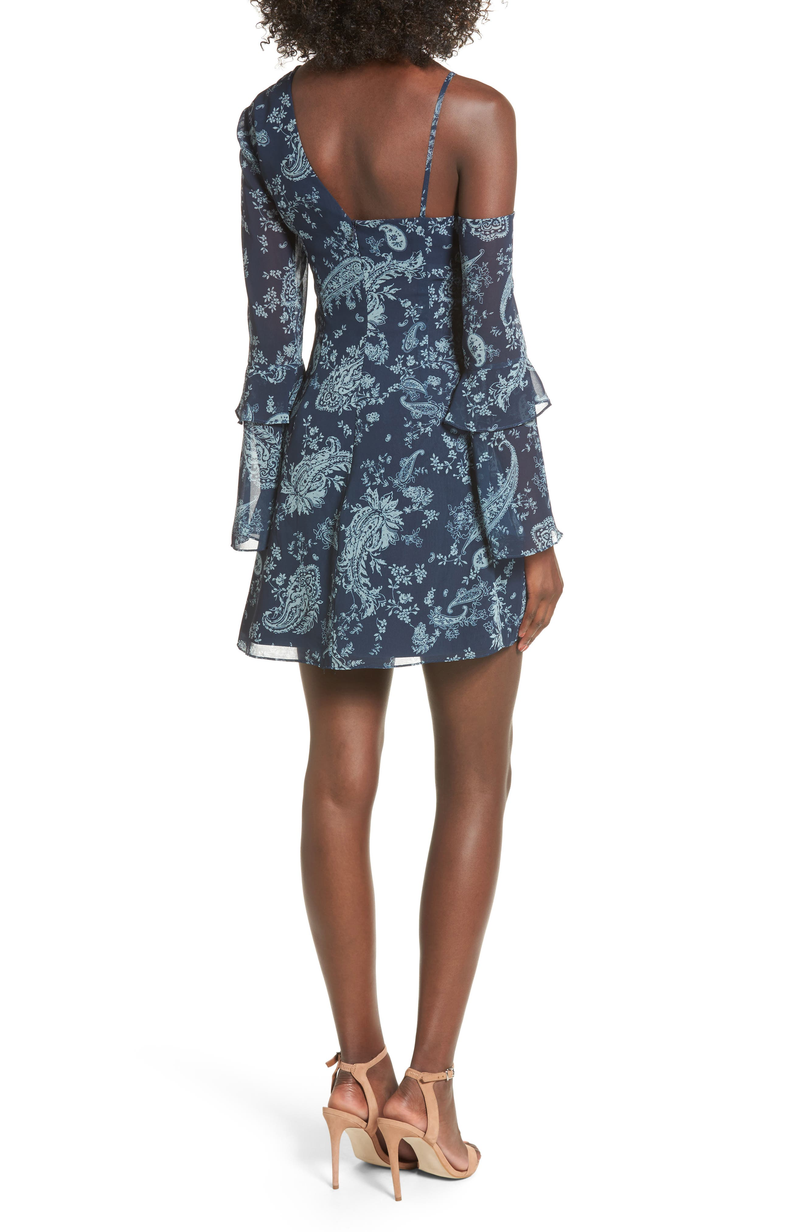 Go With It Minidress,                             Alternate thumbnail 2, color,                             Navy Paisley
