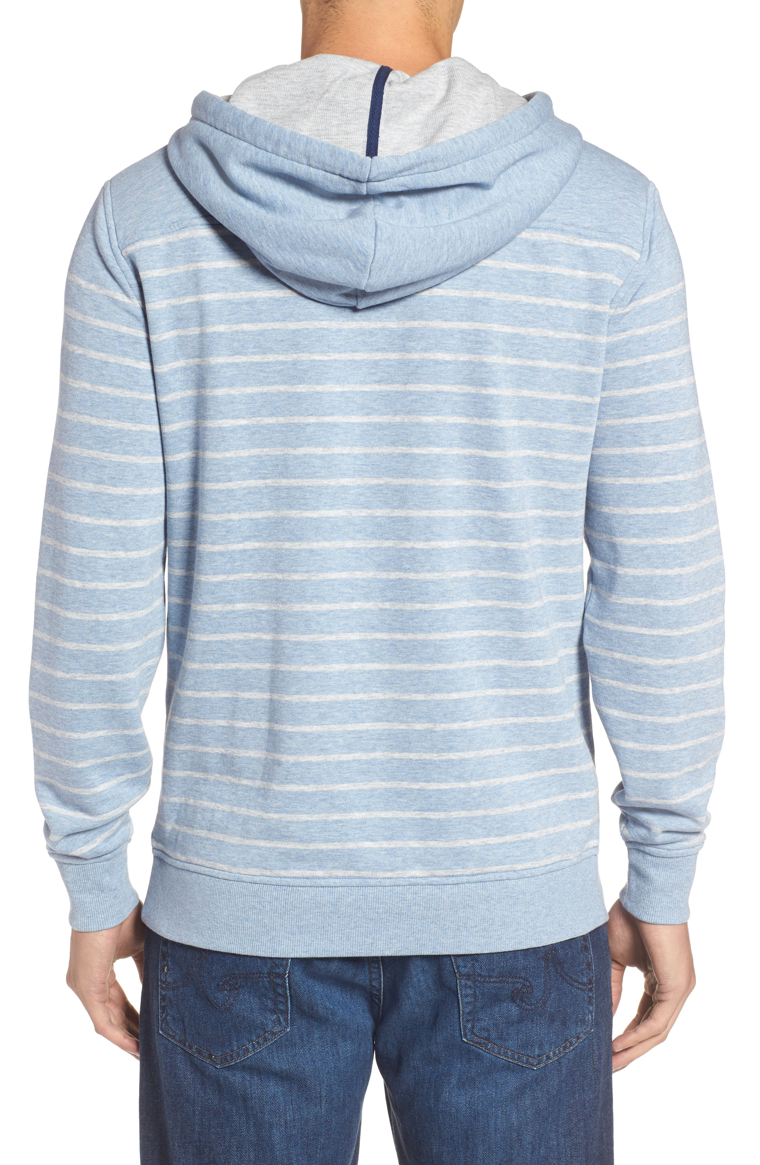 Stripe Washed Cotton Pullover Hoodie,                             Alternate thumbnail 2, color,                             Summer Evening