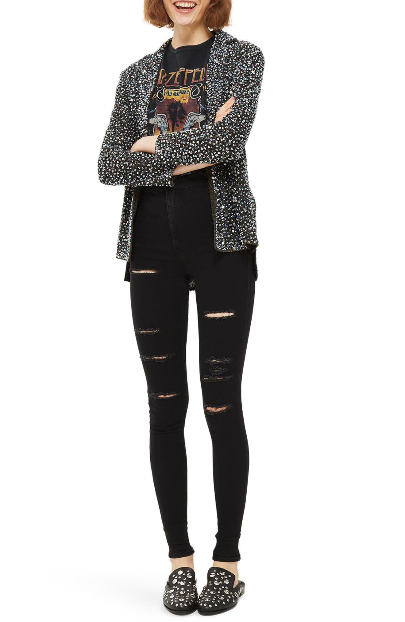 Joni Super Rip Skinny Jeans,                         Main,                         color, Black