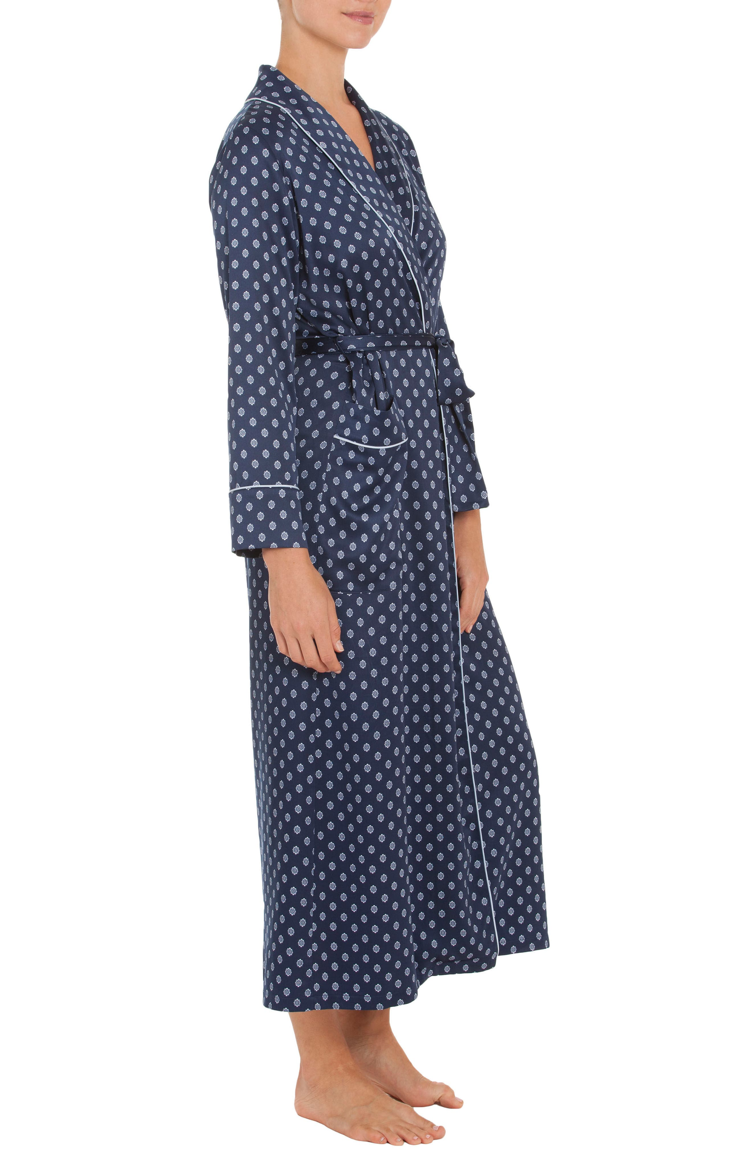 Robe,                             Alternate thumbnail 3, color,                             Navy Foulard