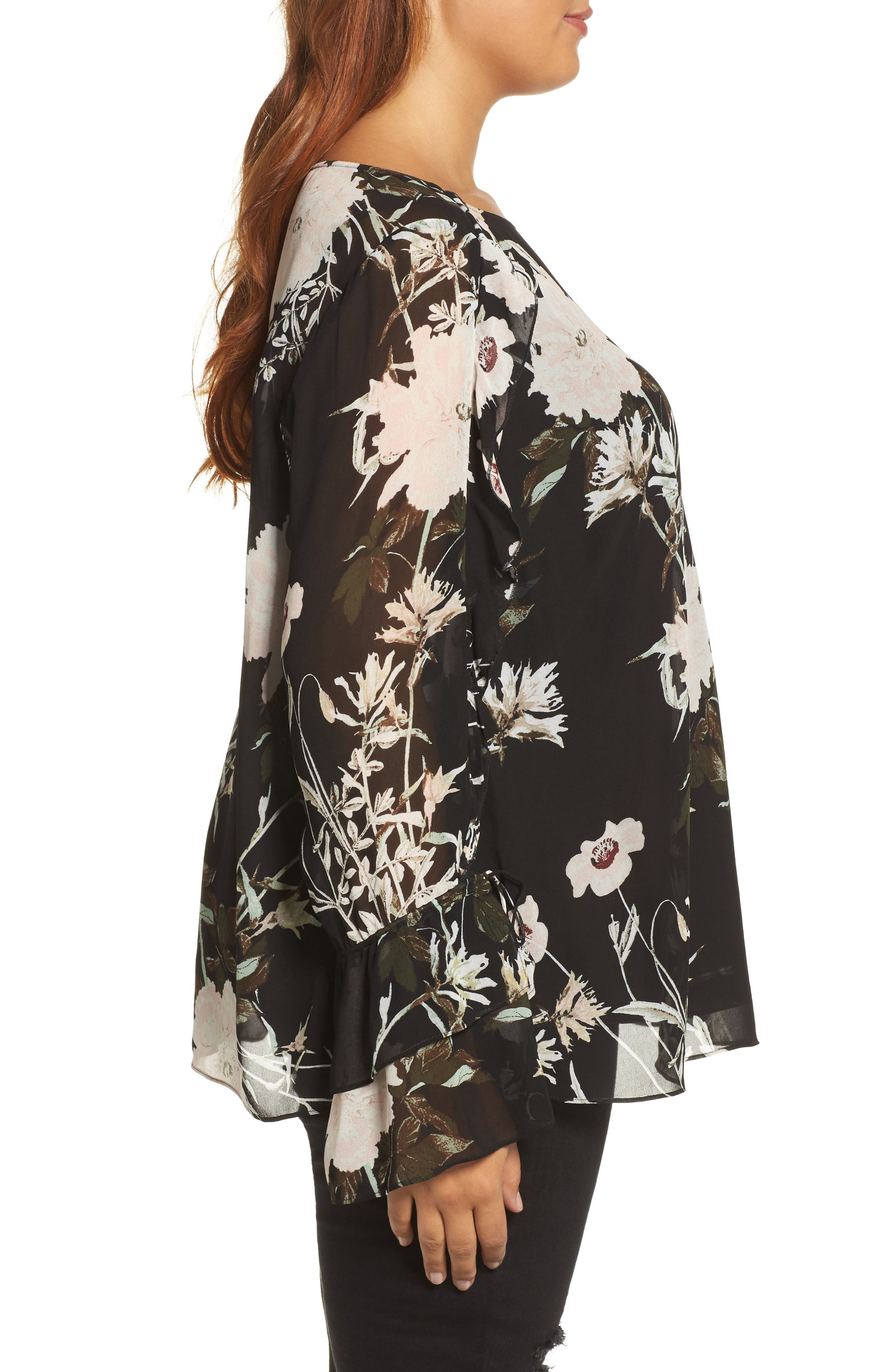 Floral Print Bell Sleeve Top,                             Alternate thumbnail 3, color,                             Black Multi