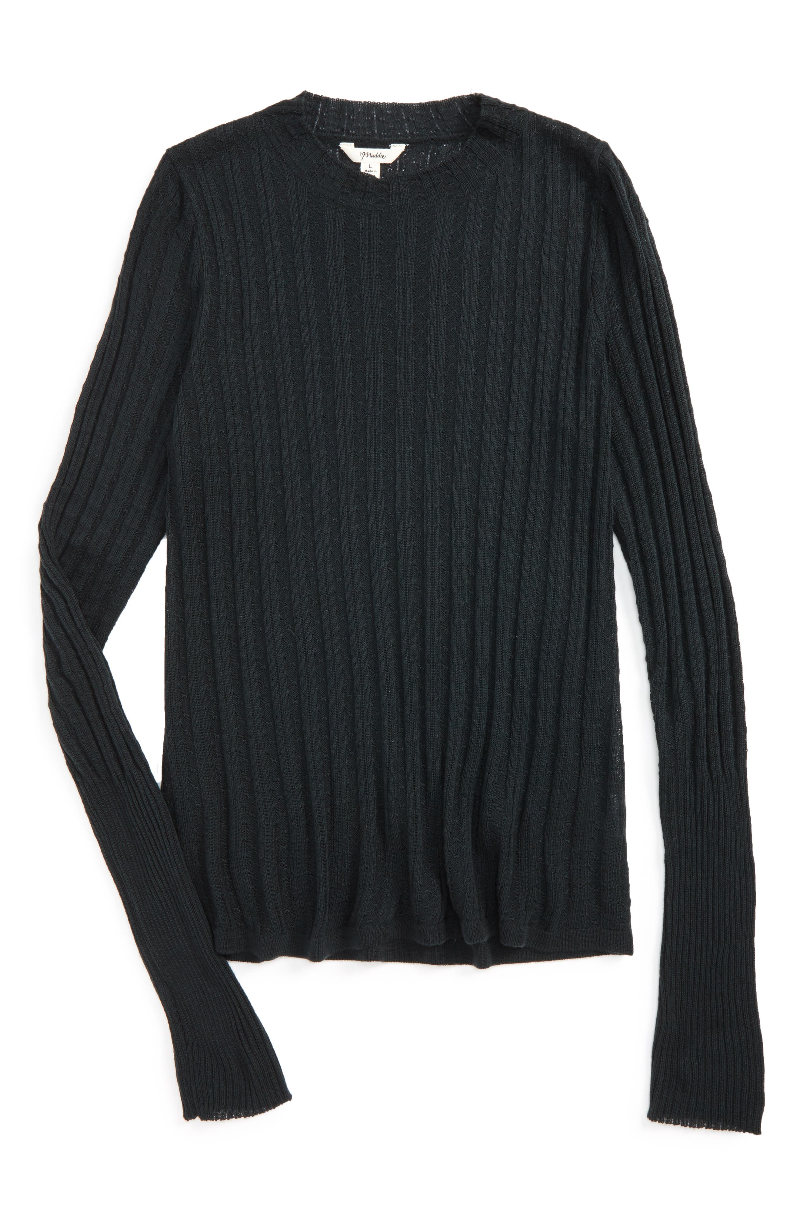 Pointelle Mock Neck Sweater,                         Main,                         color, Black