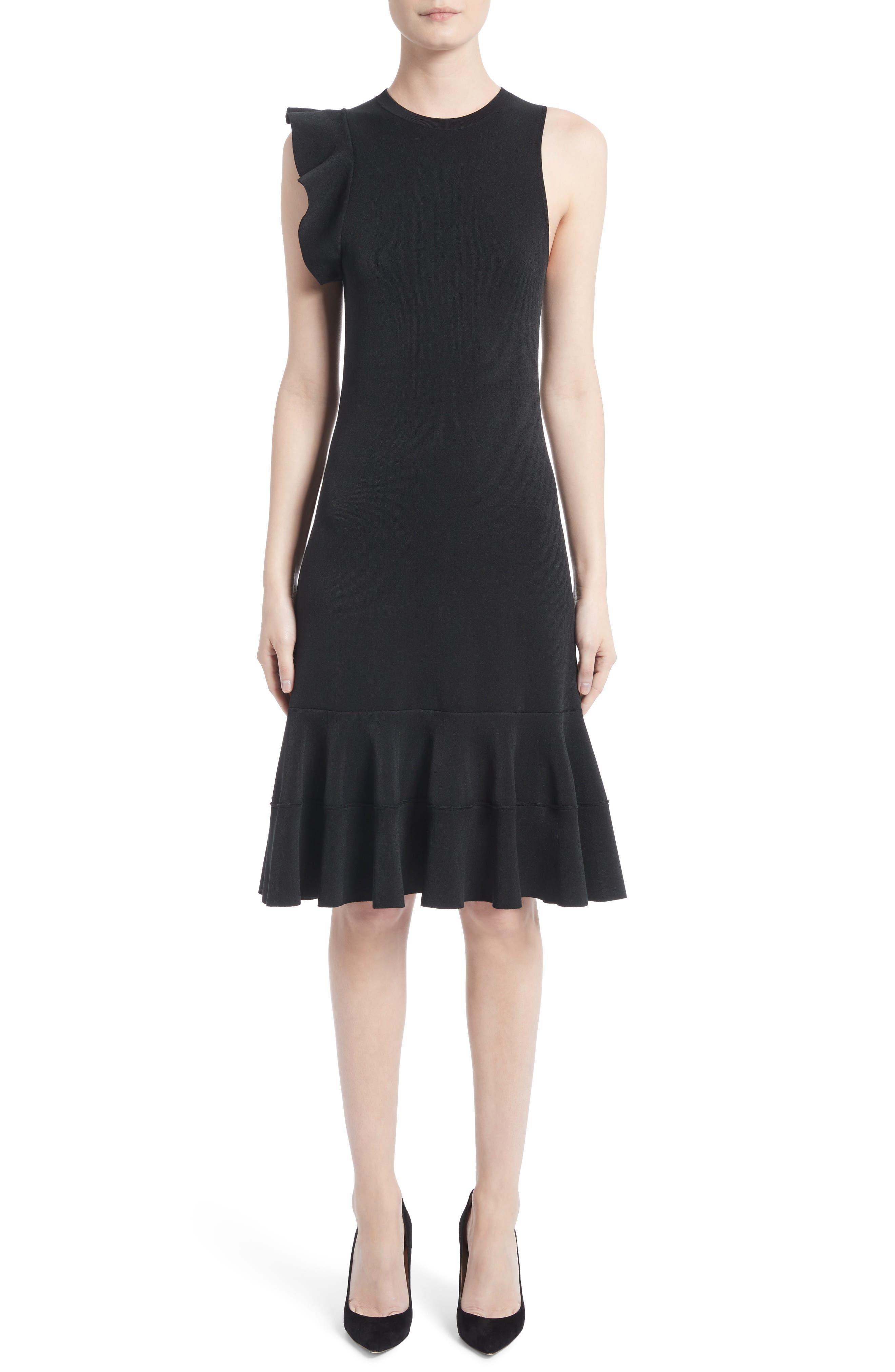 One-Shoulder Ruffle Dress,                         Main,                         color, Black