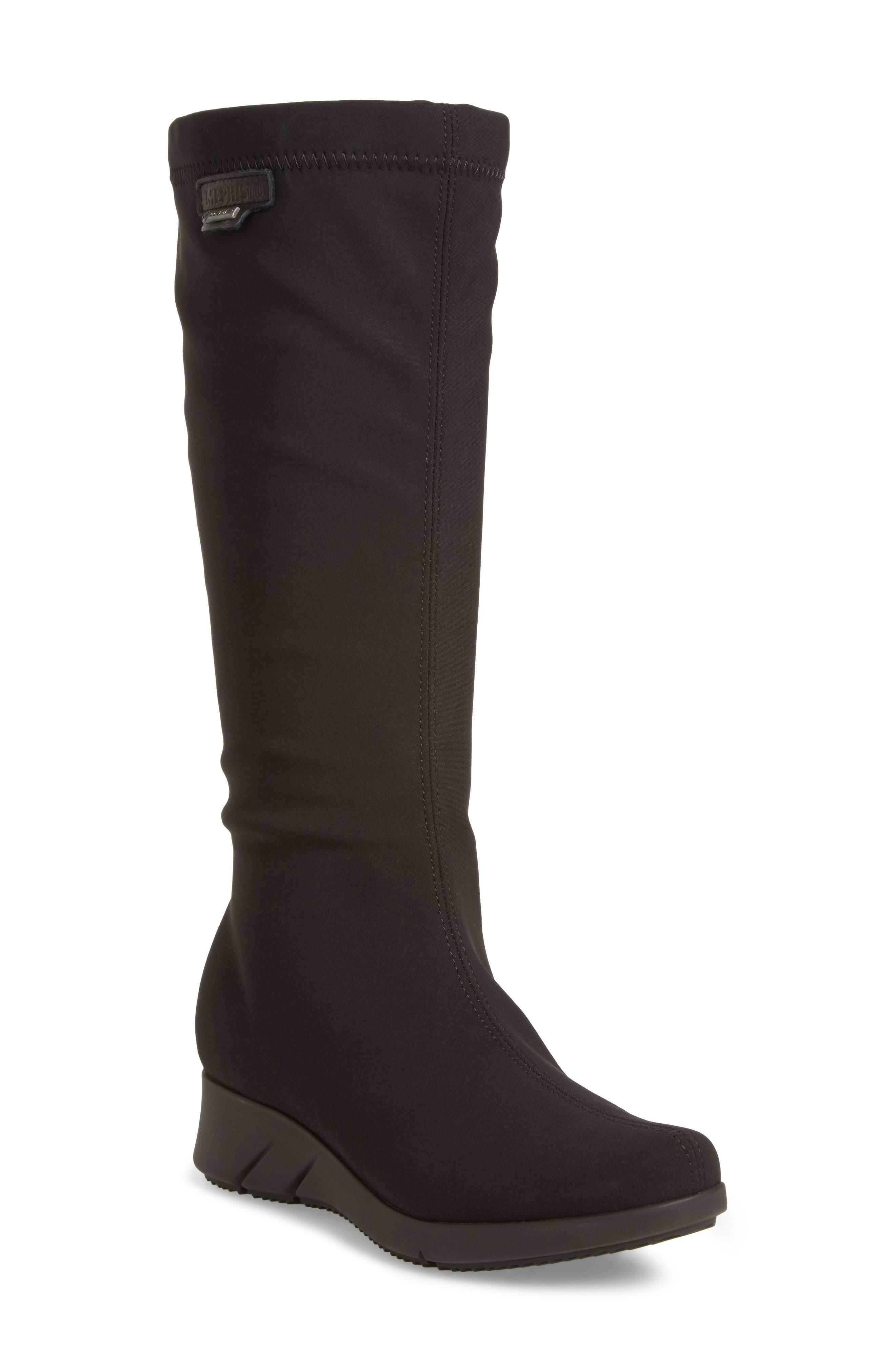 Minda Waterproof Wedge Boot,                             Main thumbnail 1, color,                             Black Fabric