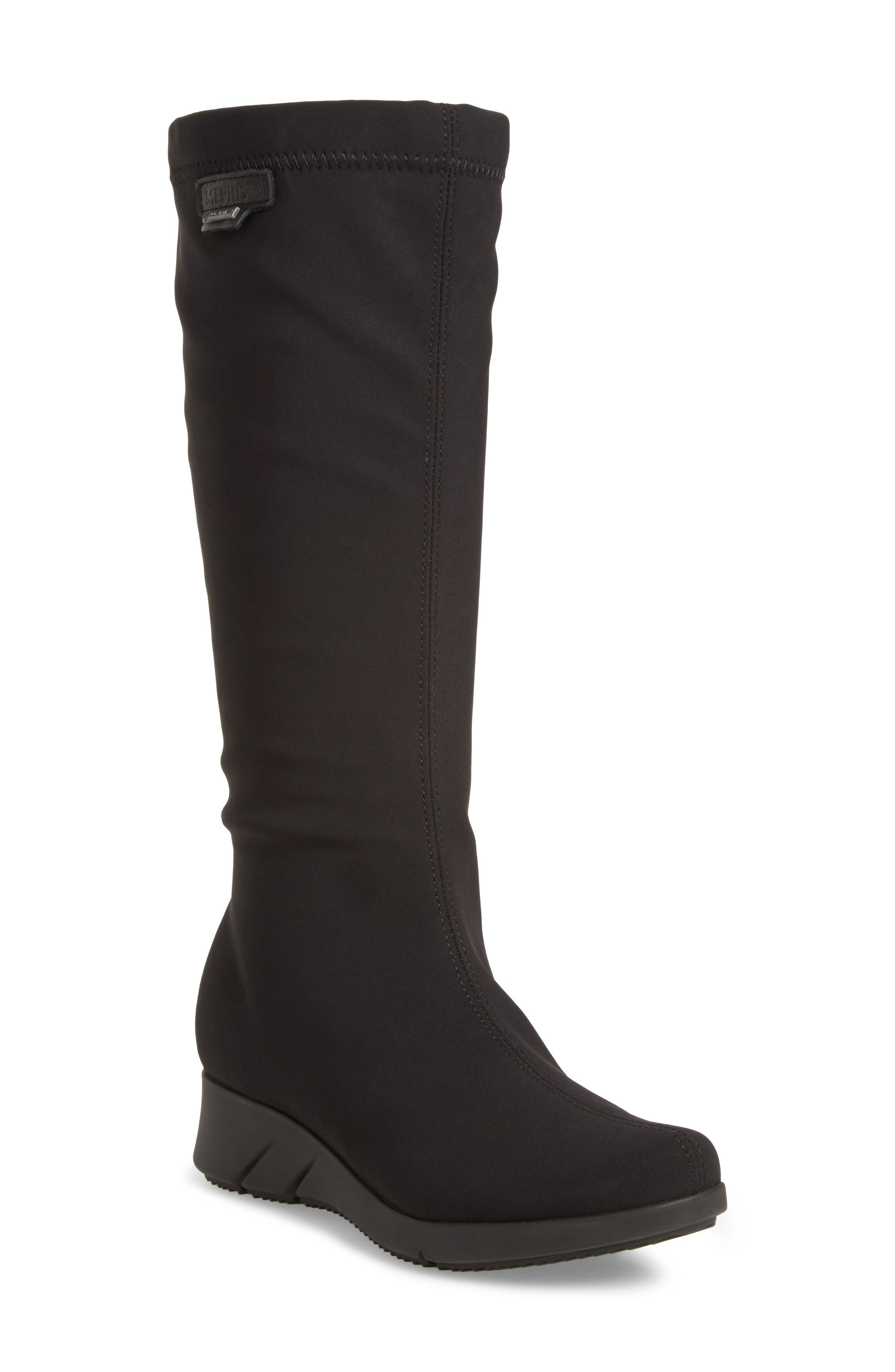 Minda Waterproof Wedge Boot,                         Main,                         color, Black Fabric