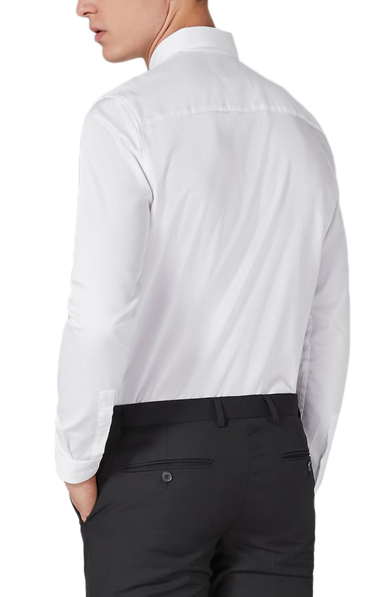 Slim Fit Embroidered Collar Dress Shirt,                             Alternate thumbnail 3, color,                             White