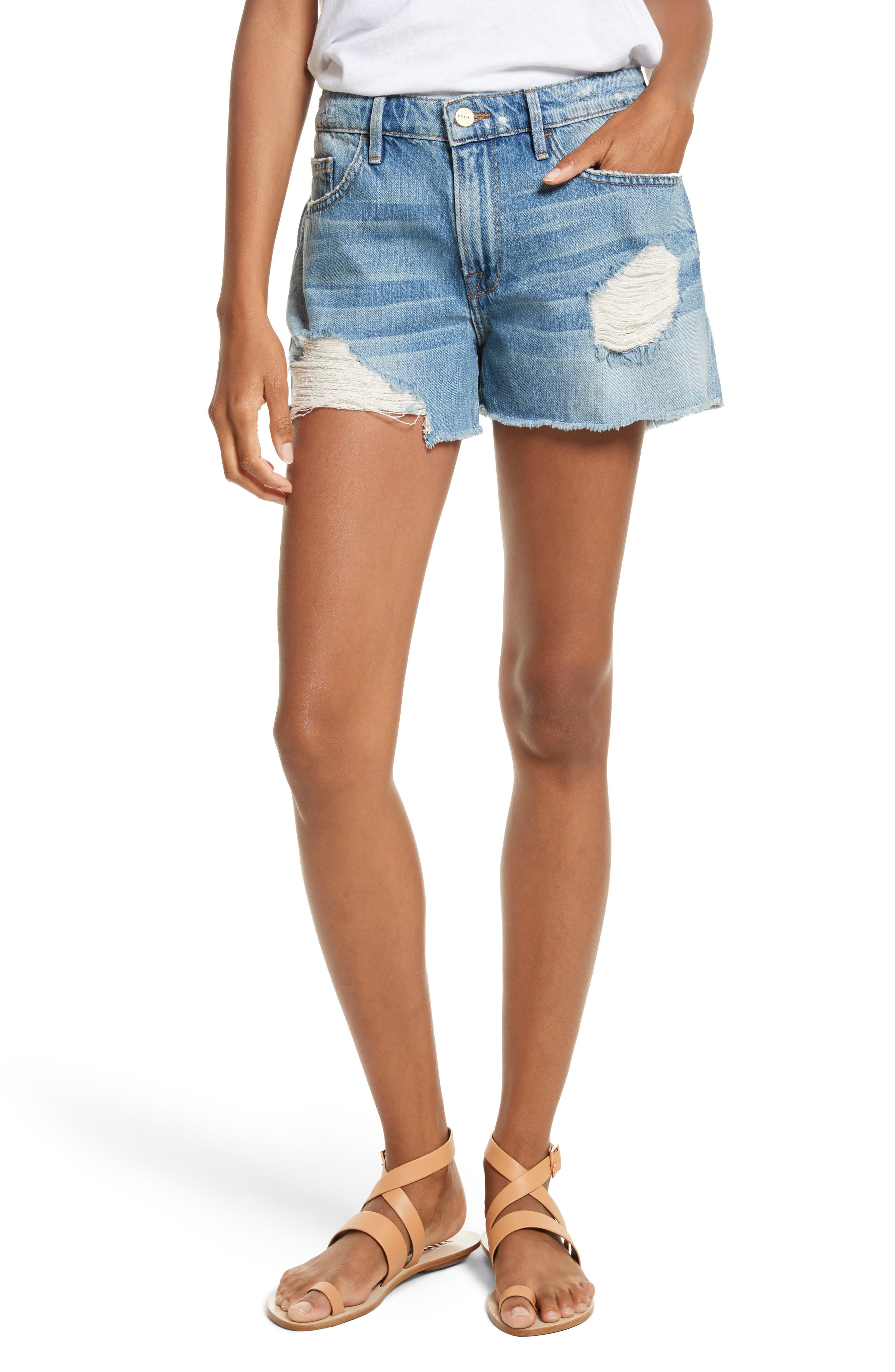 FRAME Le Grand Garçon Cutoff Denim Shorts (Albion)