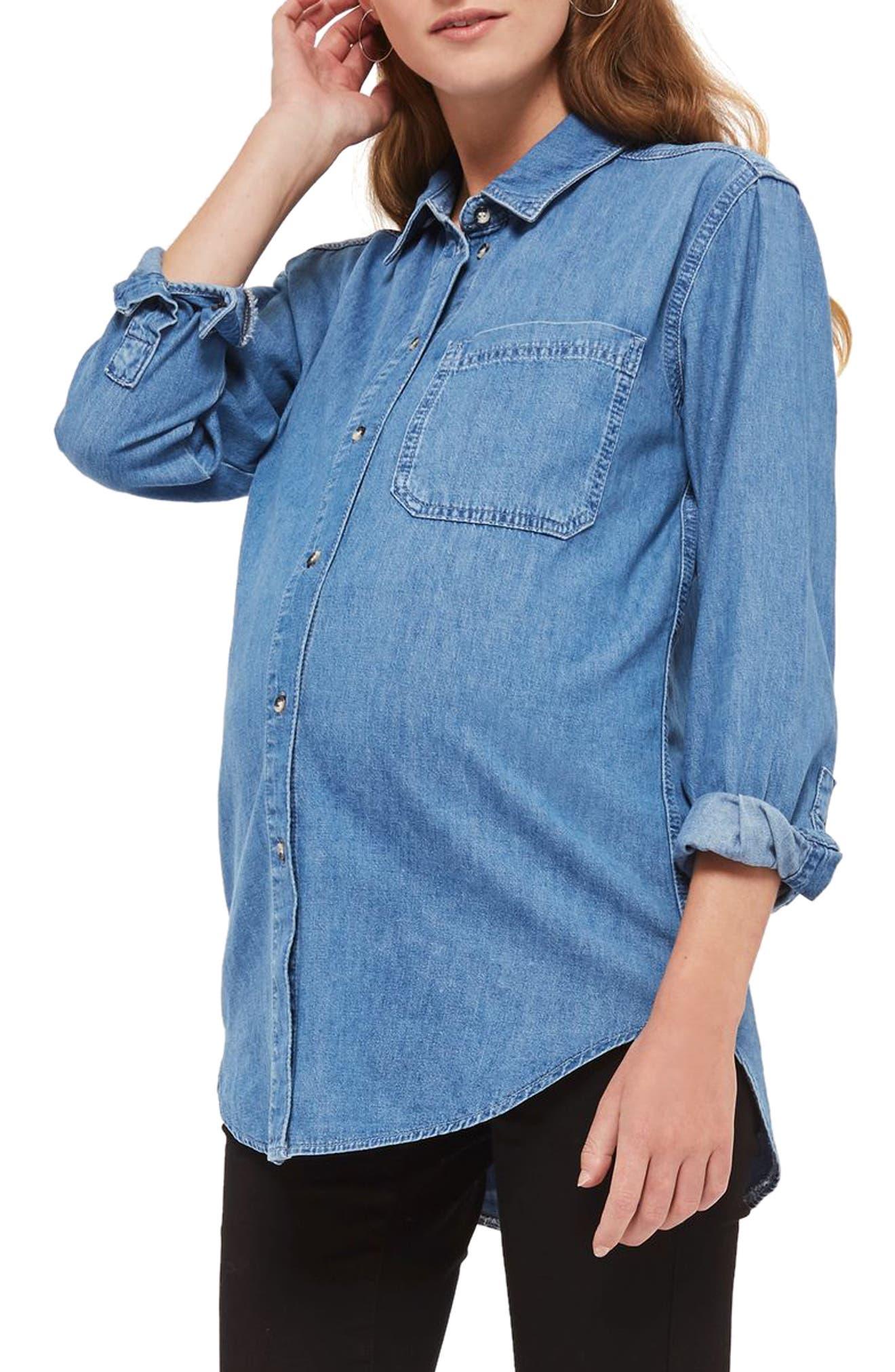 Topshop Drake Oversize Denim Maternity Shirt