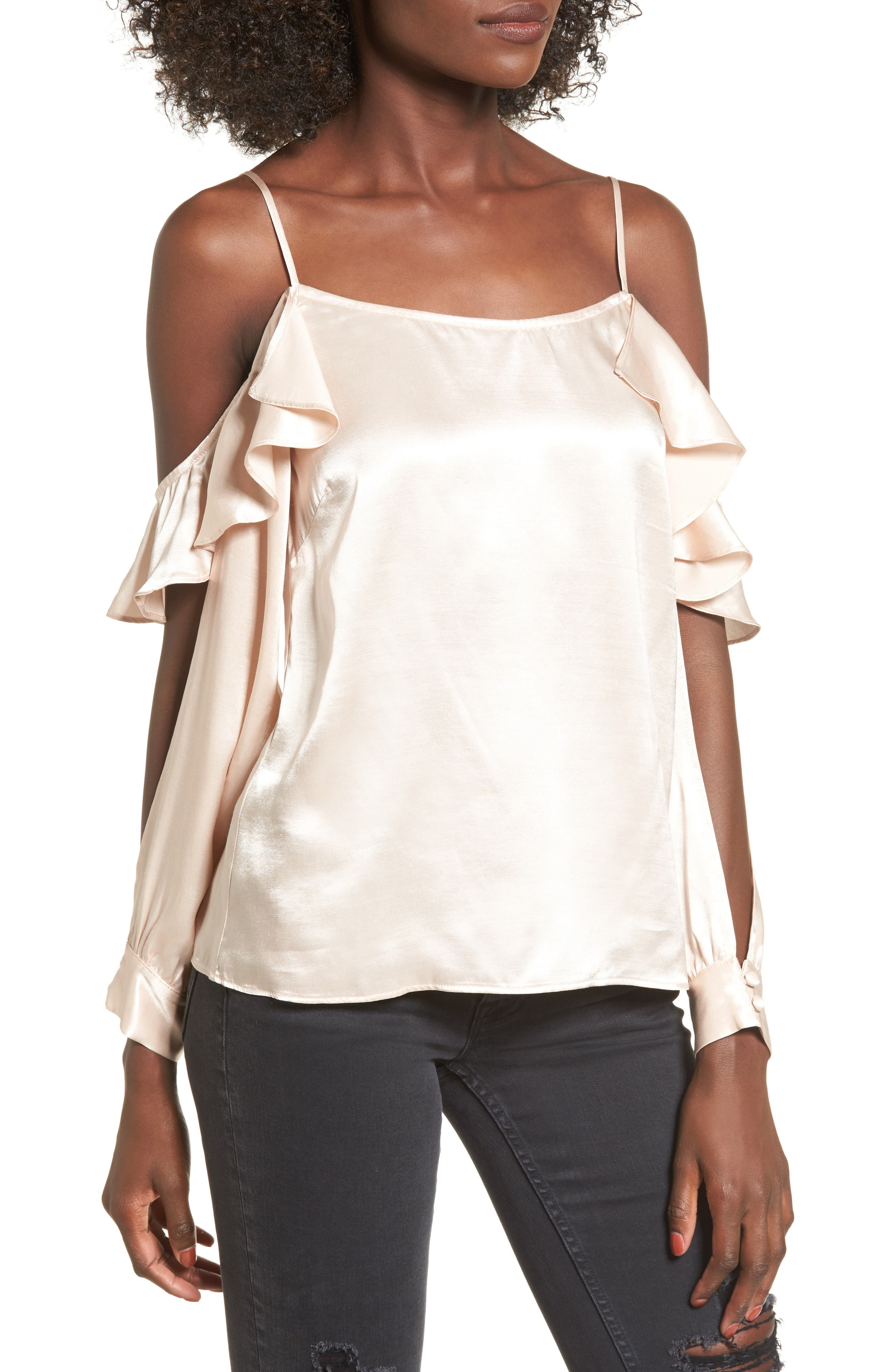 L'Academie The Open Sleeve Blouse,                             Main thumbnail 1, color,                             Champagne