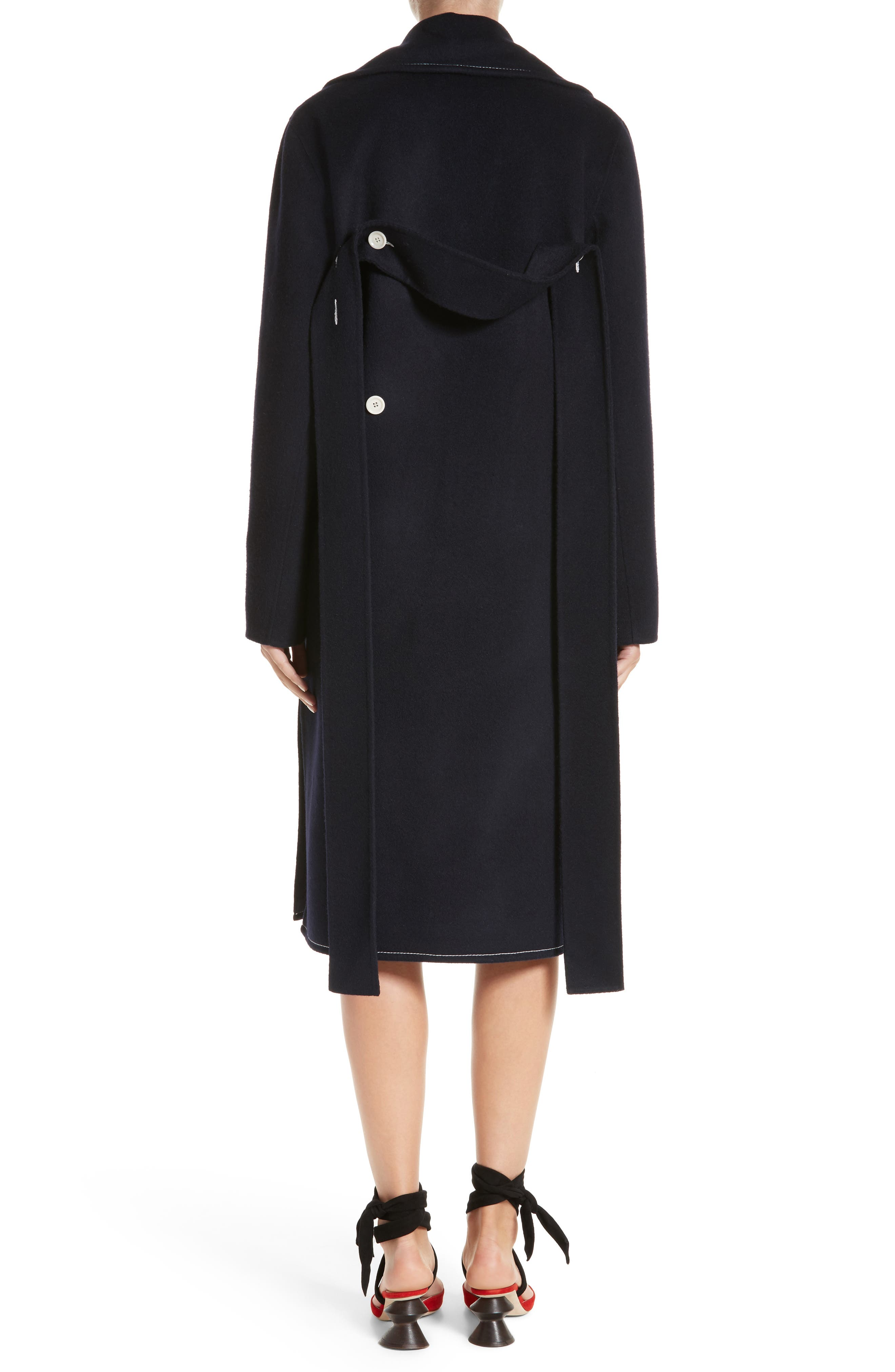 Double Breasted Wool Blend Coat,                             Alternate thumbnail 2, color,                             Wool Navy