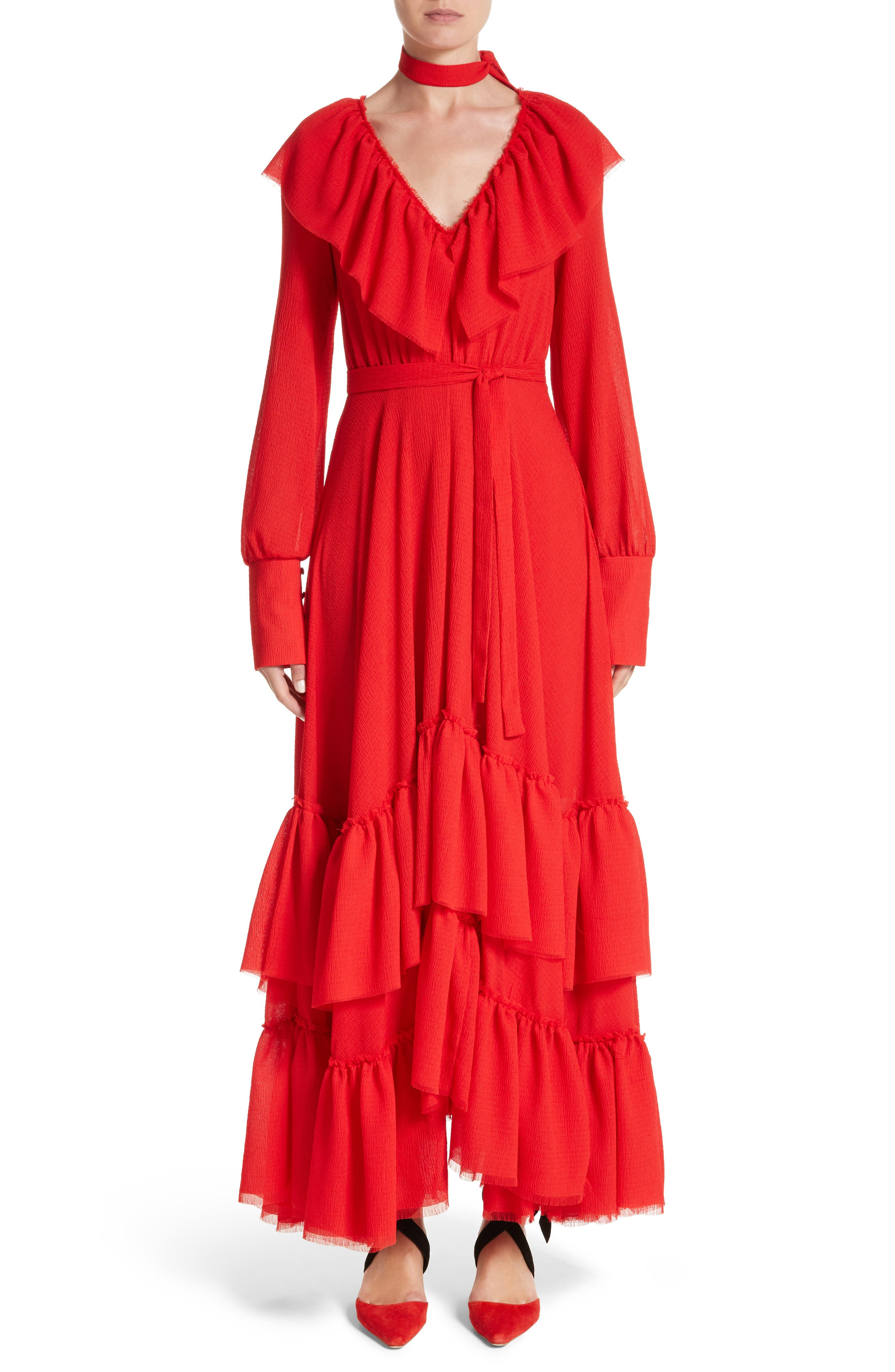 Tiered Ruffle Crepe Maxi Dress,                         Main,                         color, Crepe Seersucker Red