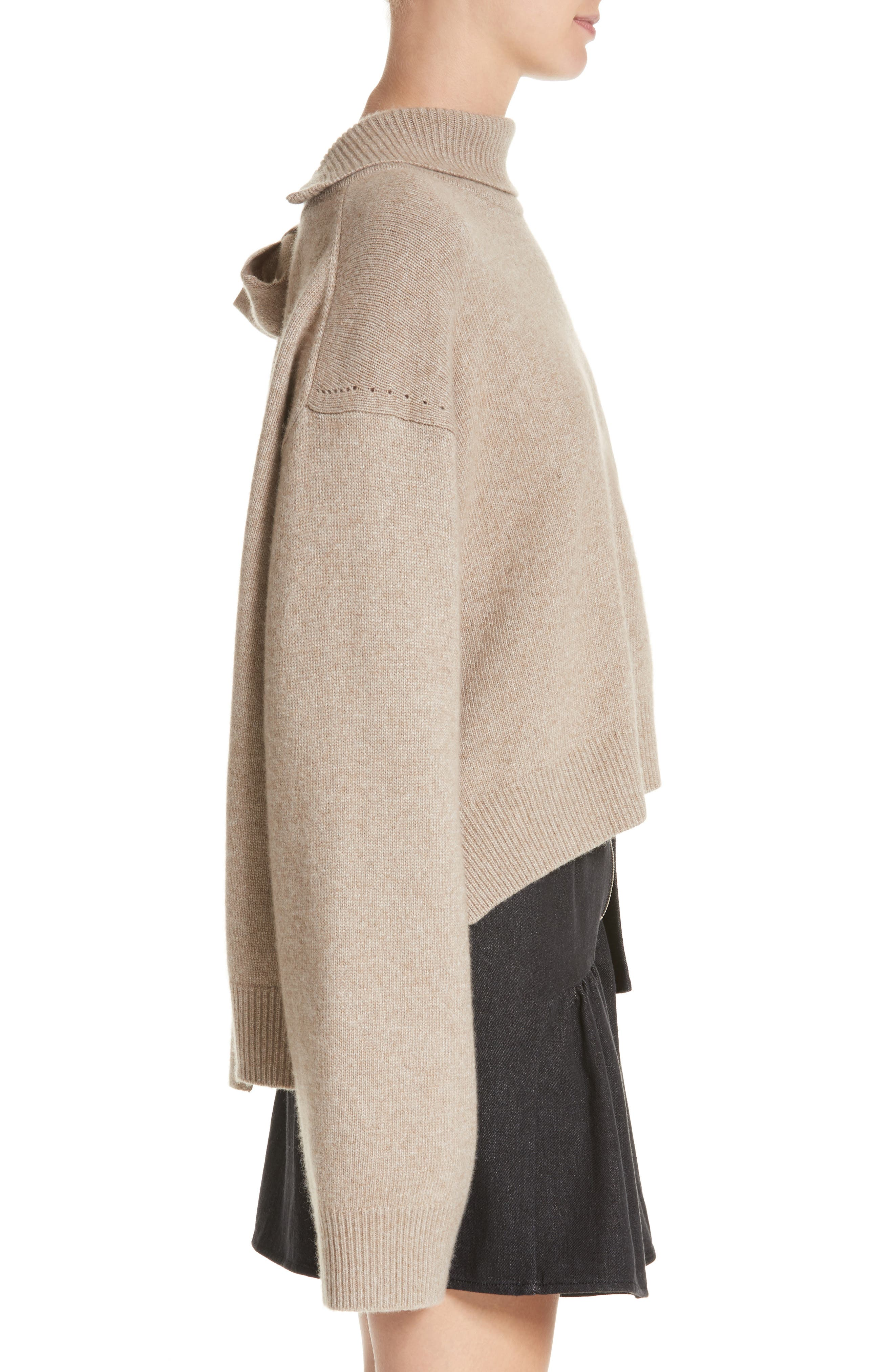 Oversized Tie Back Sweater,                             Alternate thumbnail 4, color,                             Knit Beige