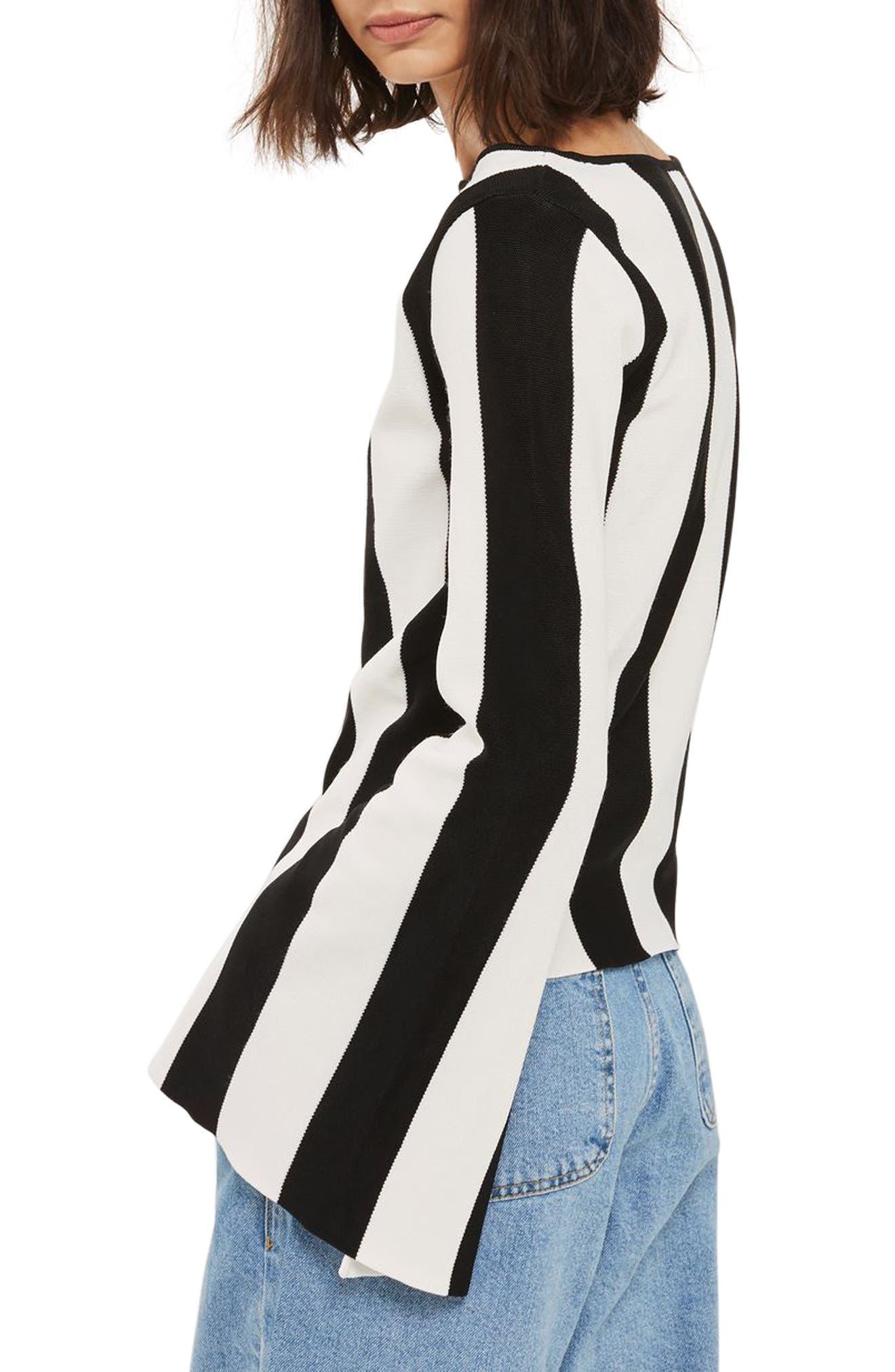 Stripe Split Sleeve Sweater,                             Alternate thumbnail 3, color,                             Black Multi