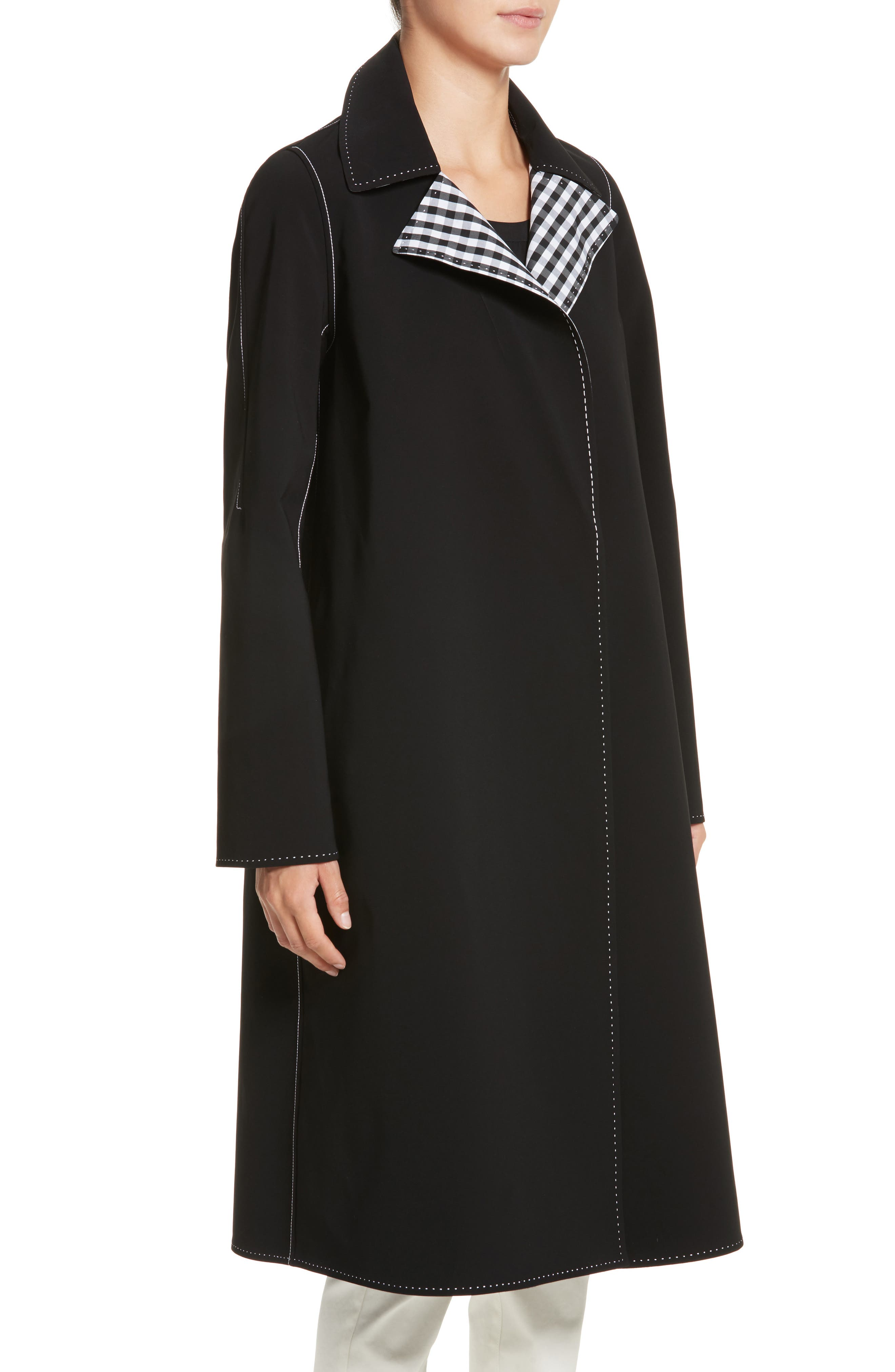 Dina Reversible Trench Coat,                             Alternate thumbnail 2, color,                             Black Multi