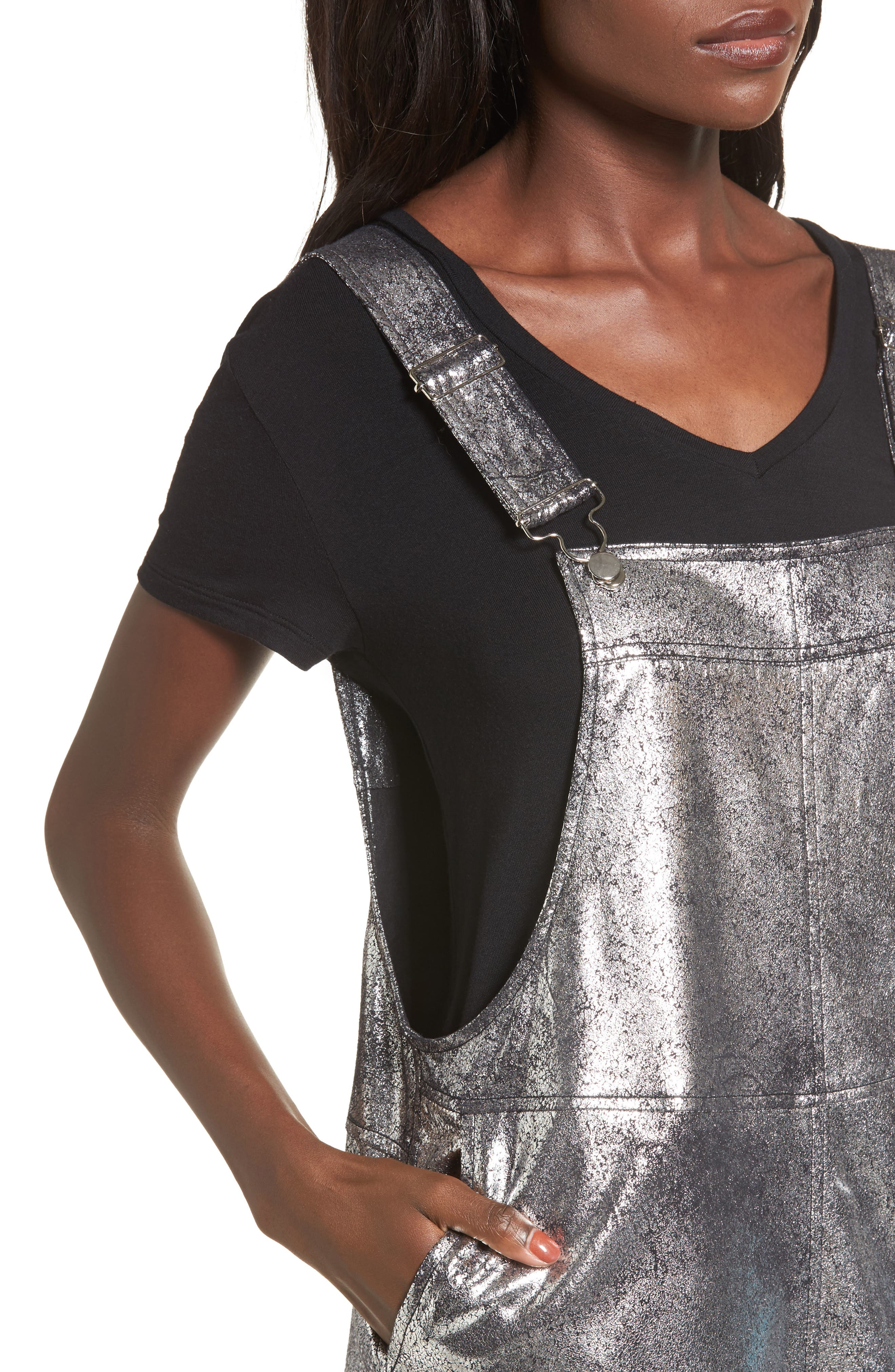 Metallic Overall Minidress,                             Alternate thumbnail 4, color,                             Now Or Never