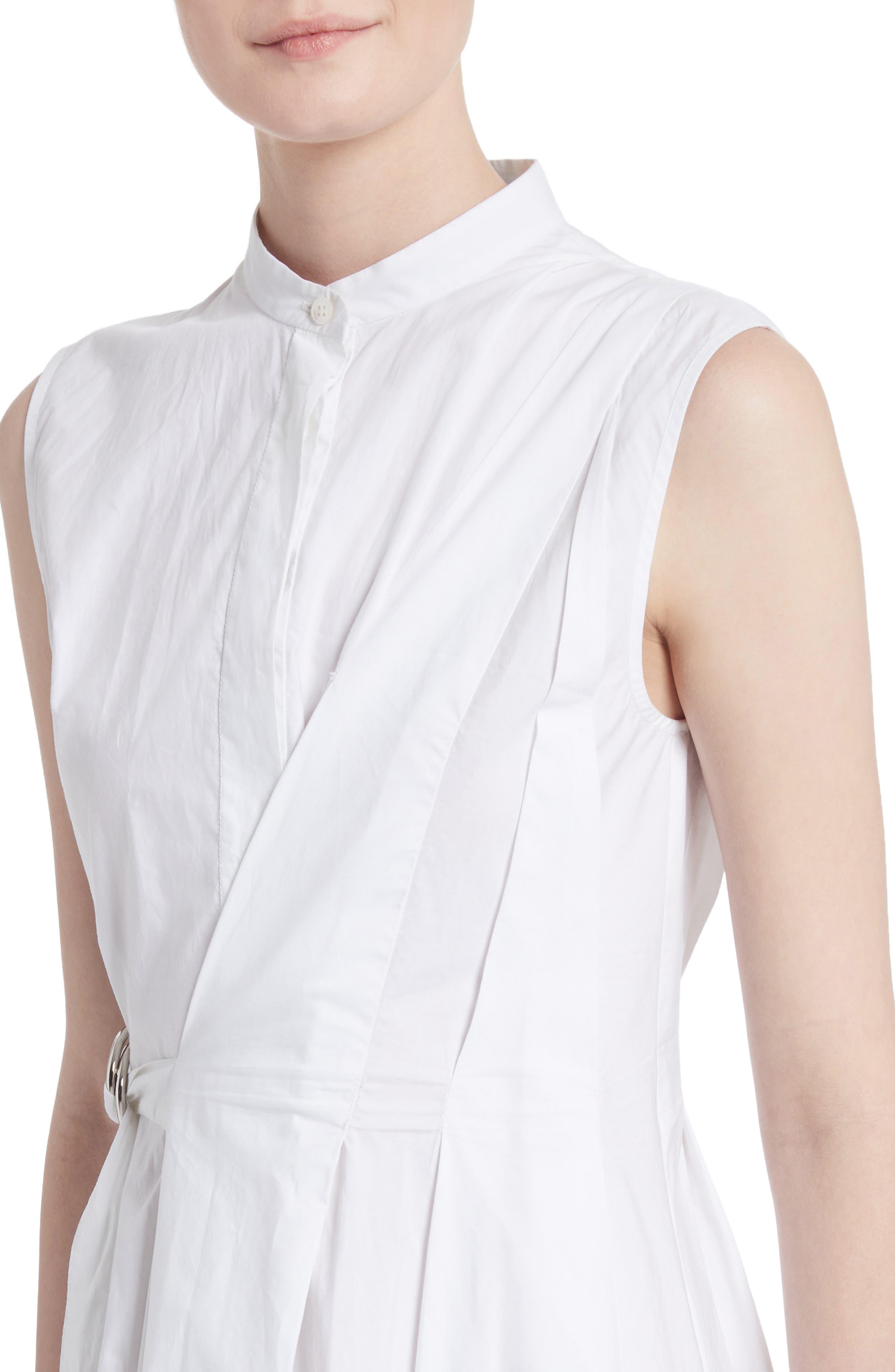 Cotton Poplin Wrap Dress,                             Alternate thumbnail 4, color,                             Optic White