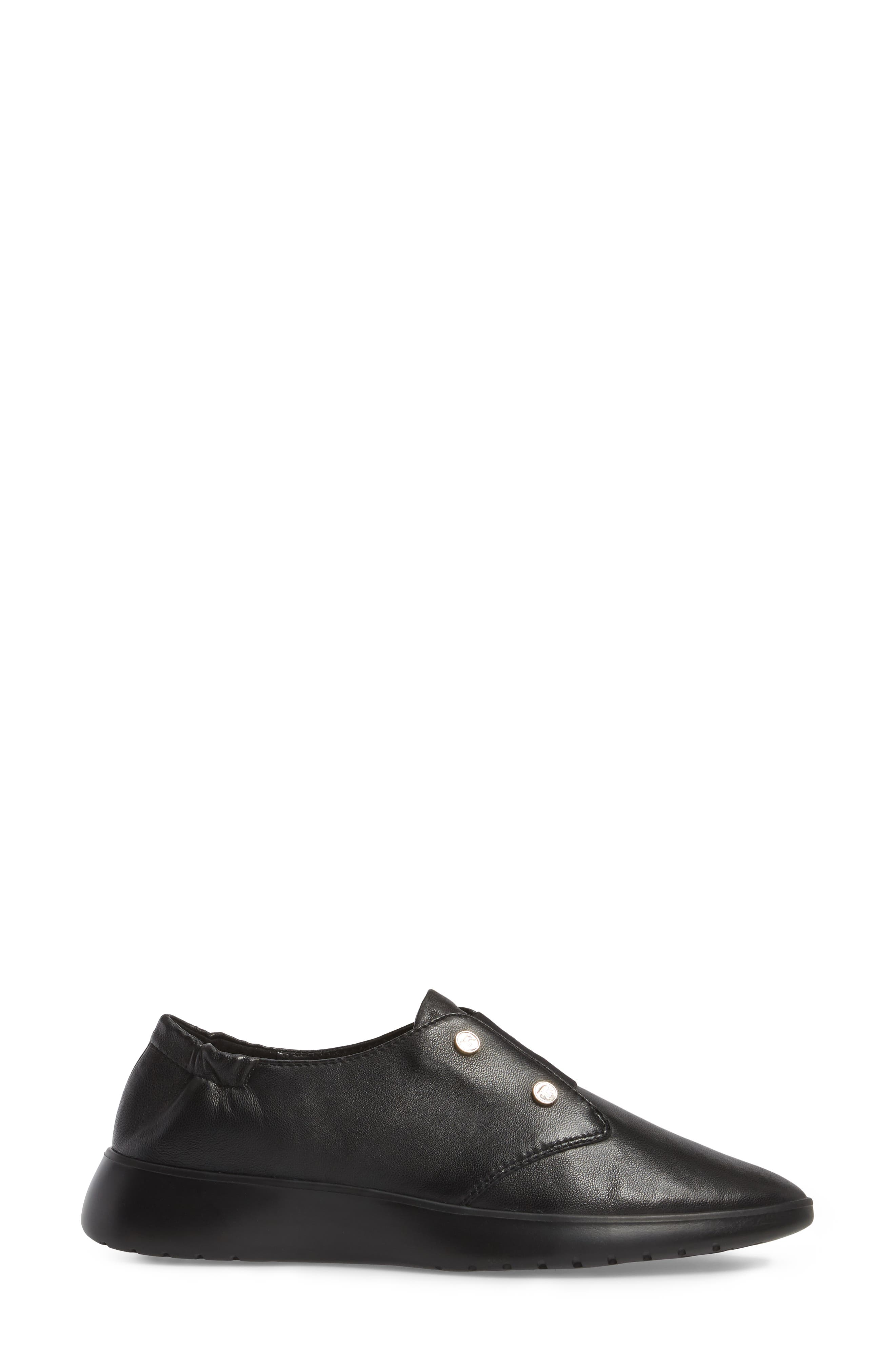 Darcy Slip-On Oxford,                             Alternate thumbnail 3, color,                             Black Leather