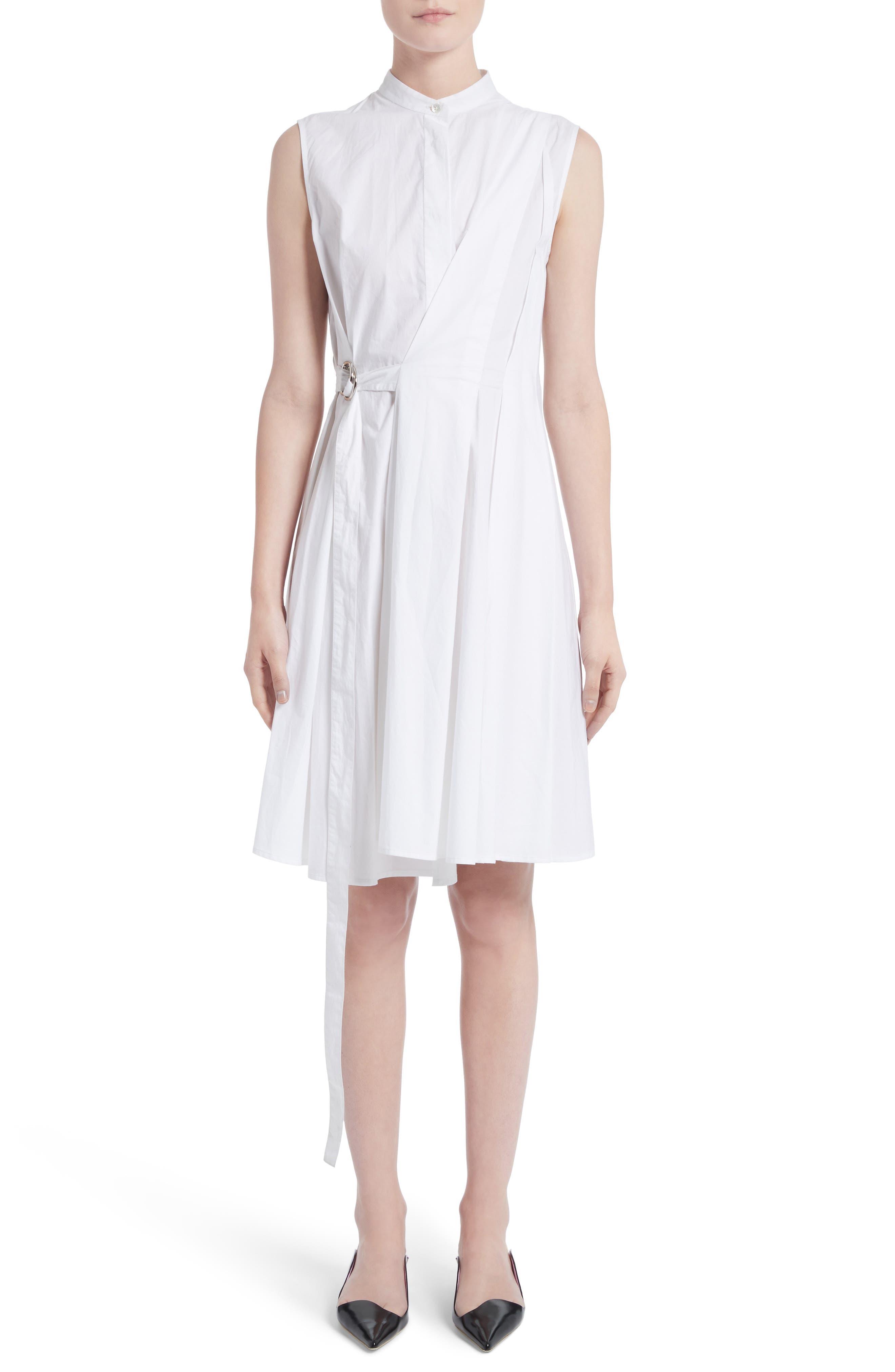Cotton Poplin Wrap Dress,                         Main,                         color, Optic White