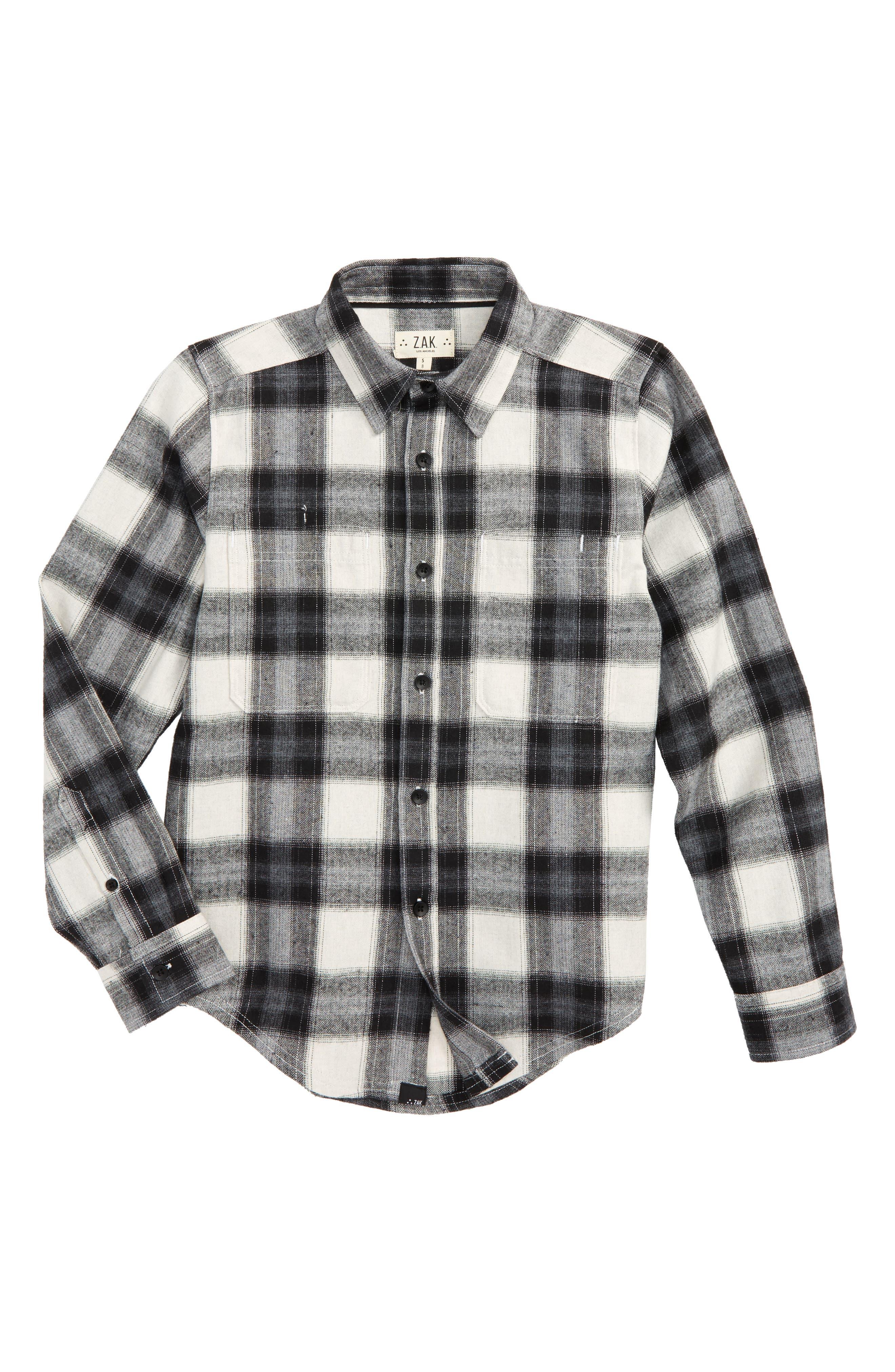 Z.A.K. Brand Woven Flannel Shirt (Big Boys)