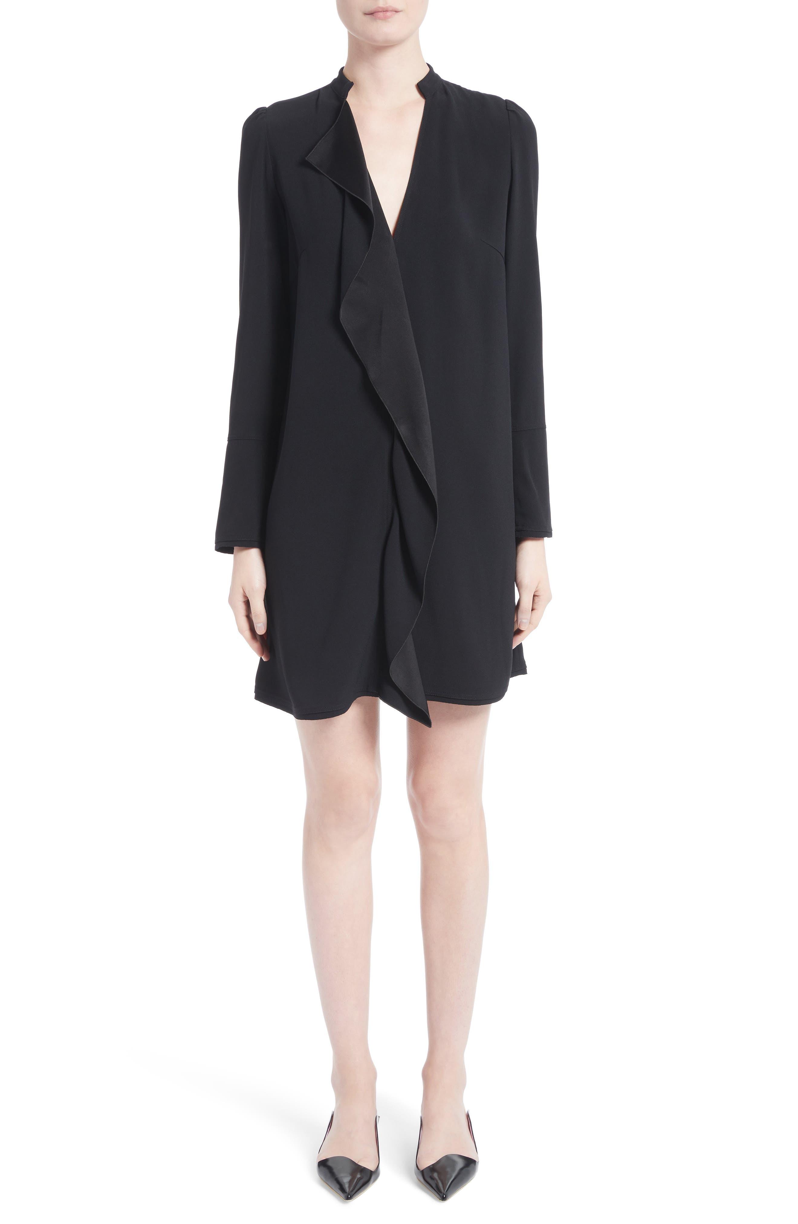 Ruffle Satin Backed Crepe Dress,                             Main thumbnail 1, color,                             Black