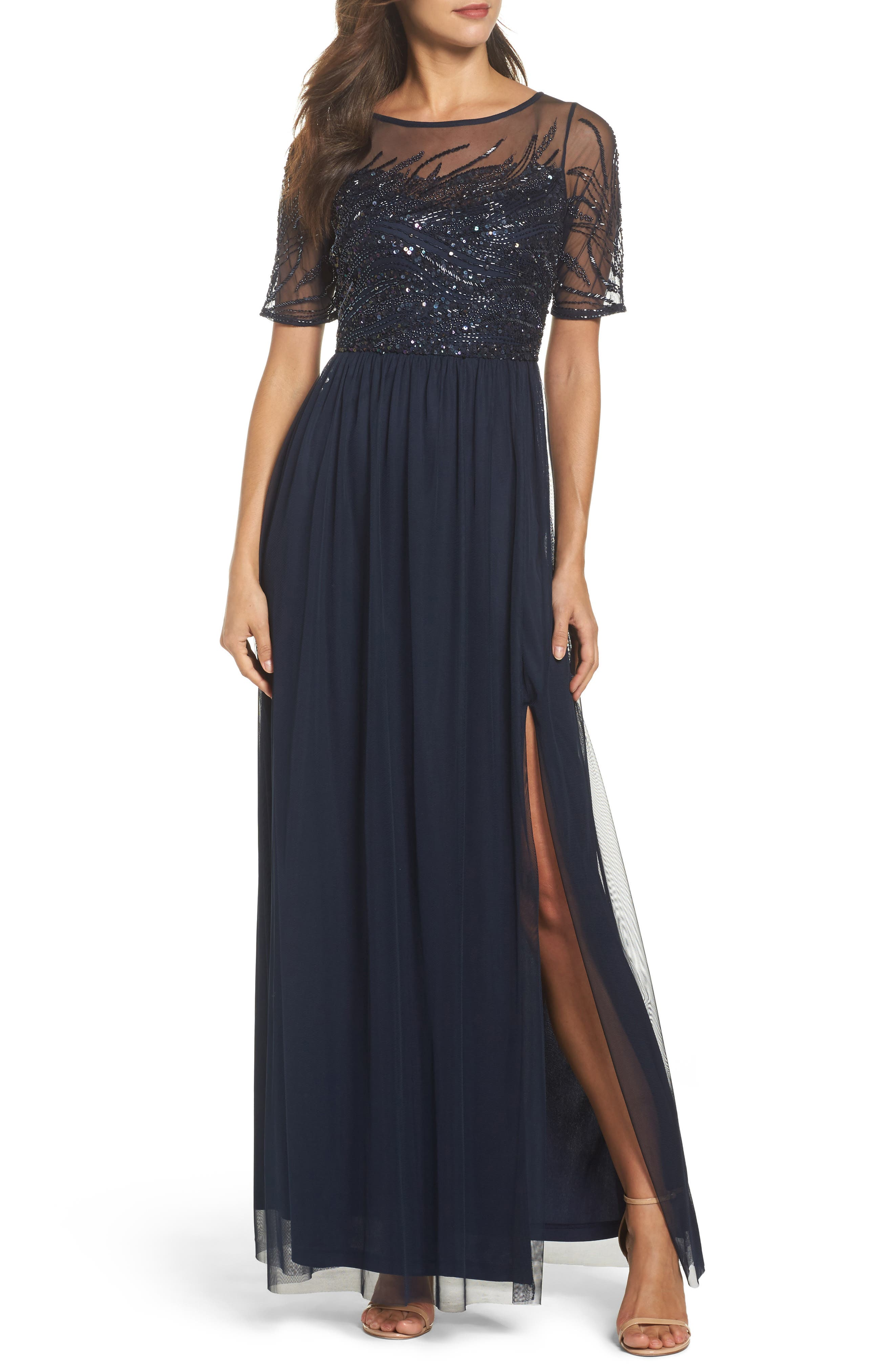 Beaded Bodice Mesh Gown,                         Main,                         color, Midnight
