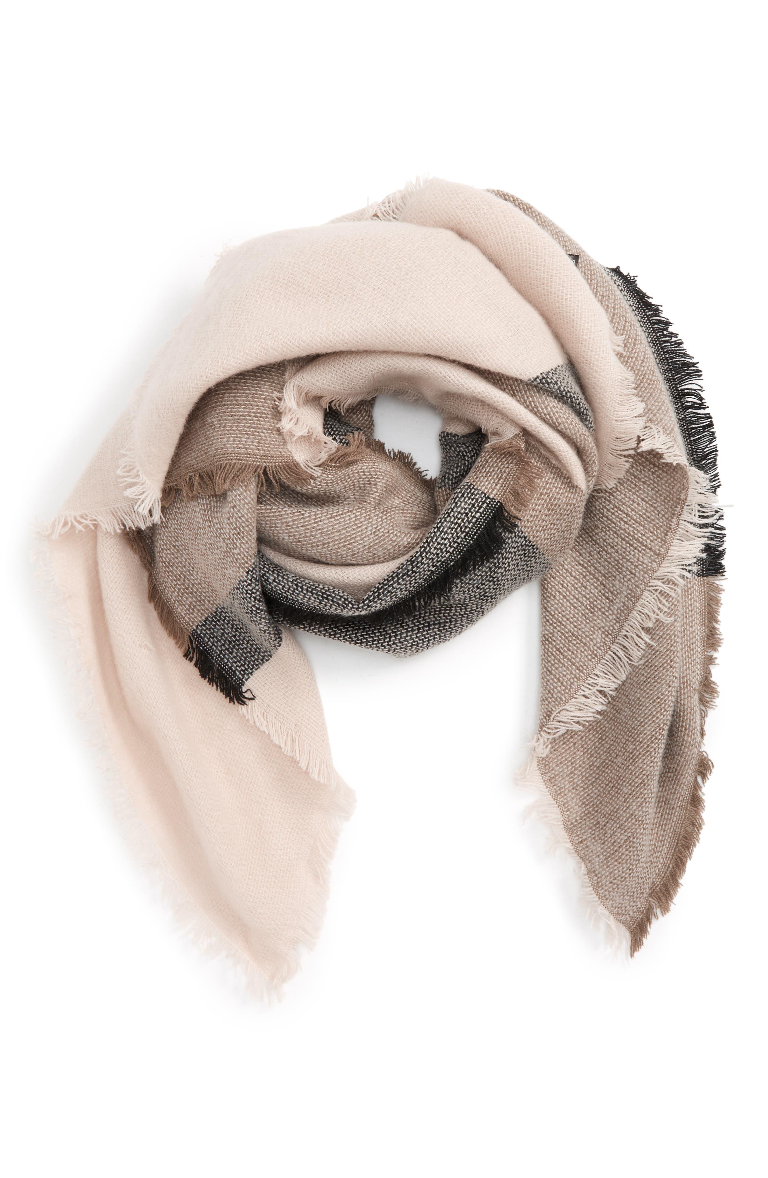 Accessory Collective Stripe Scarf,                         Main,                         color, Grey Multi