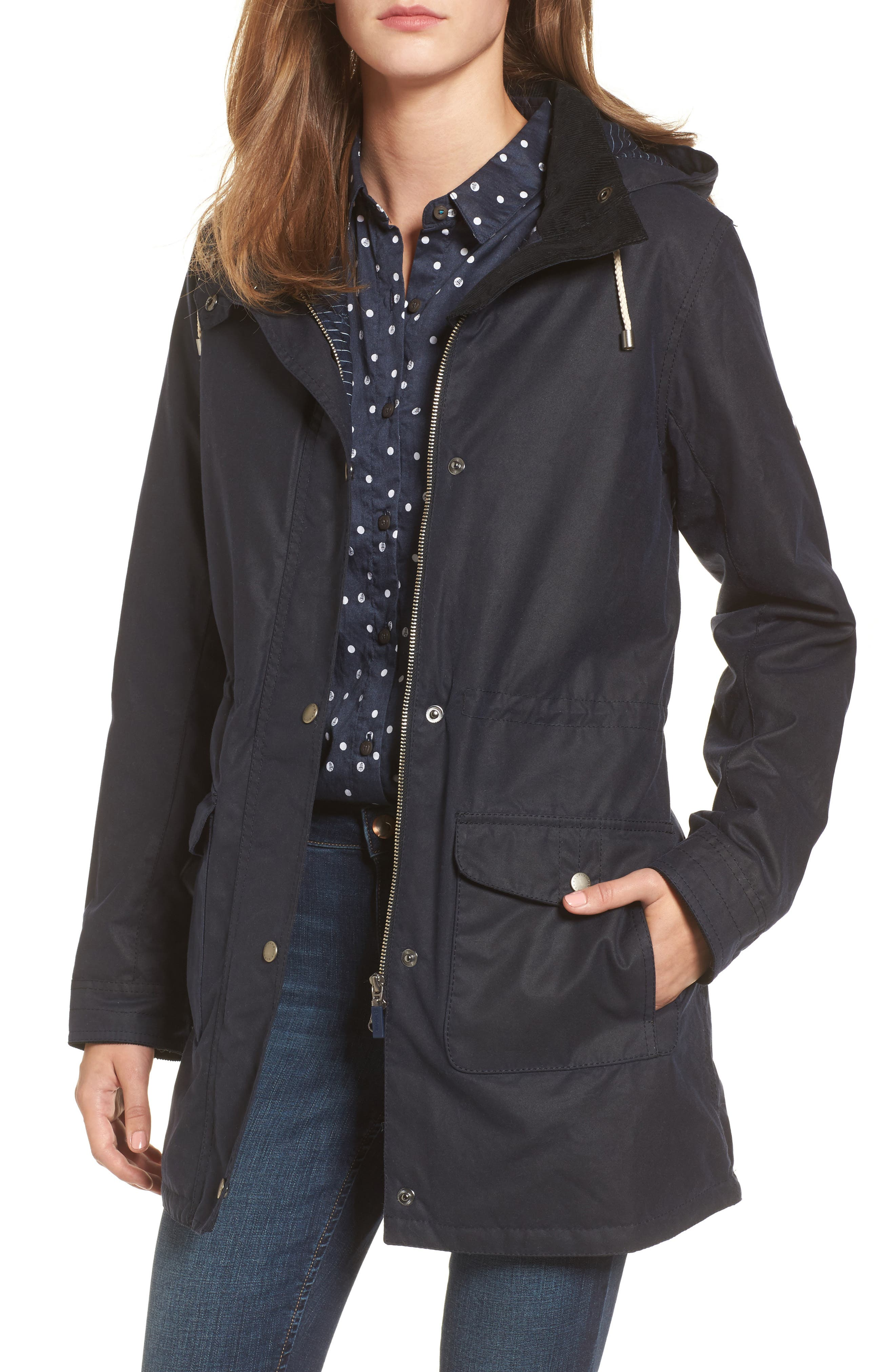 Selsey Waxed Canvas Hooded Jacket,                         Main,                         color, Royal Navy
