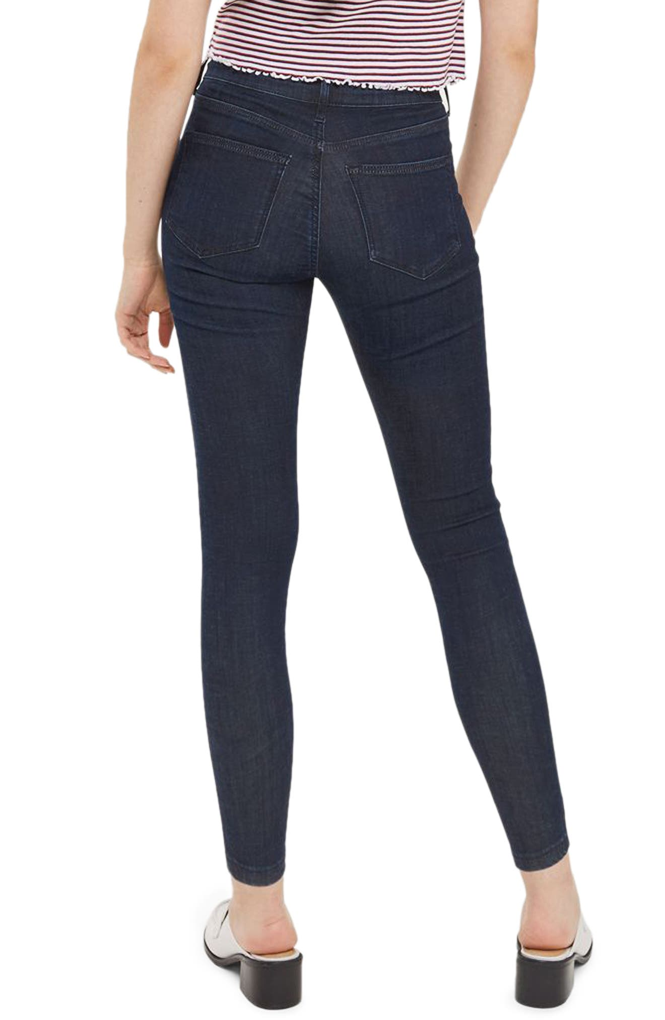 Leigh Skinny Ankle Jeans,                             Alternate thumbnail 3, color,                             Dark Indigo