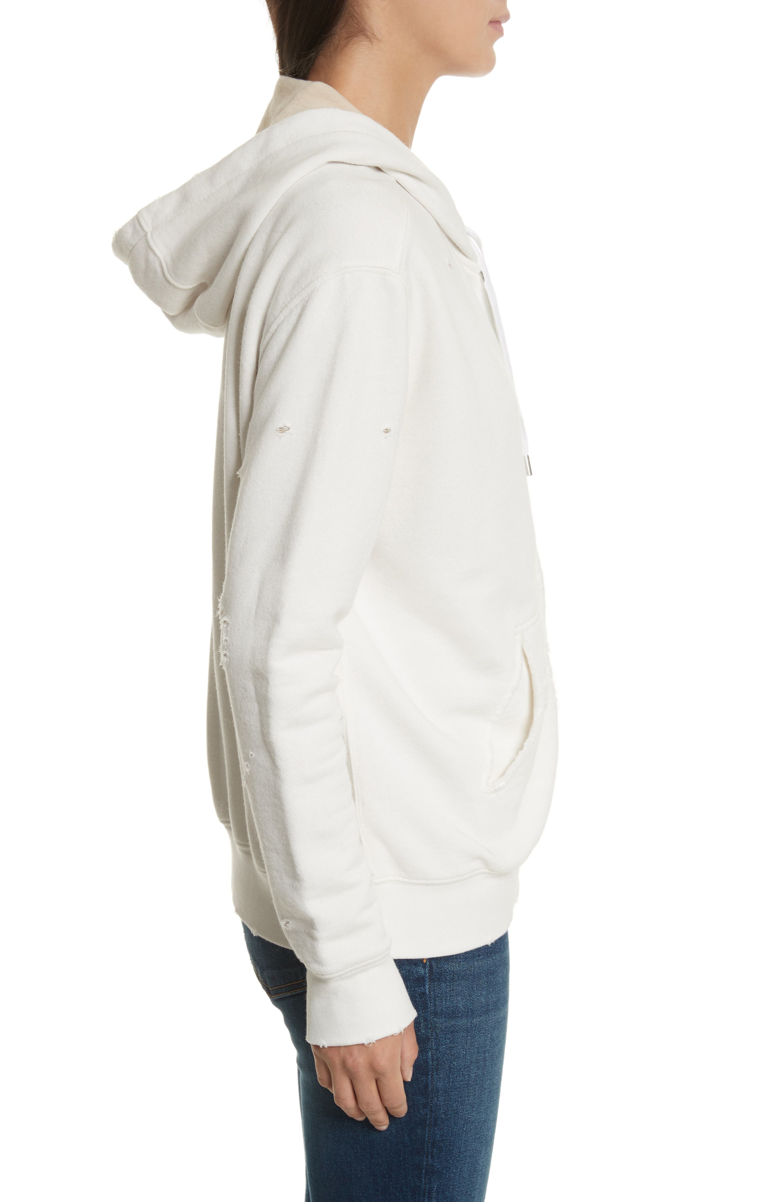 Double Layer French Terry Hoodie,                             Alternate thumbnail 3, color,                             Chalk/ Sandstone