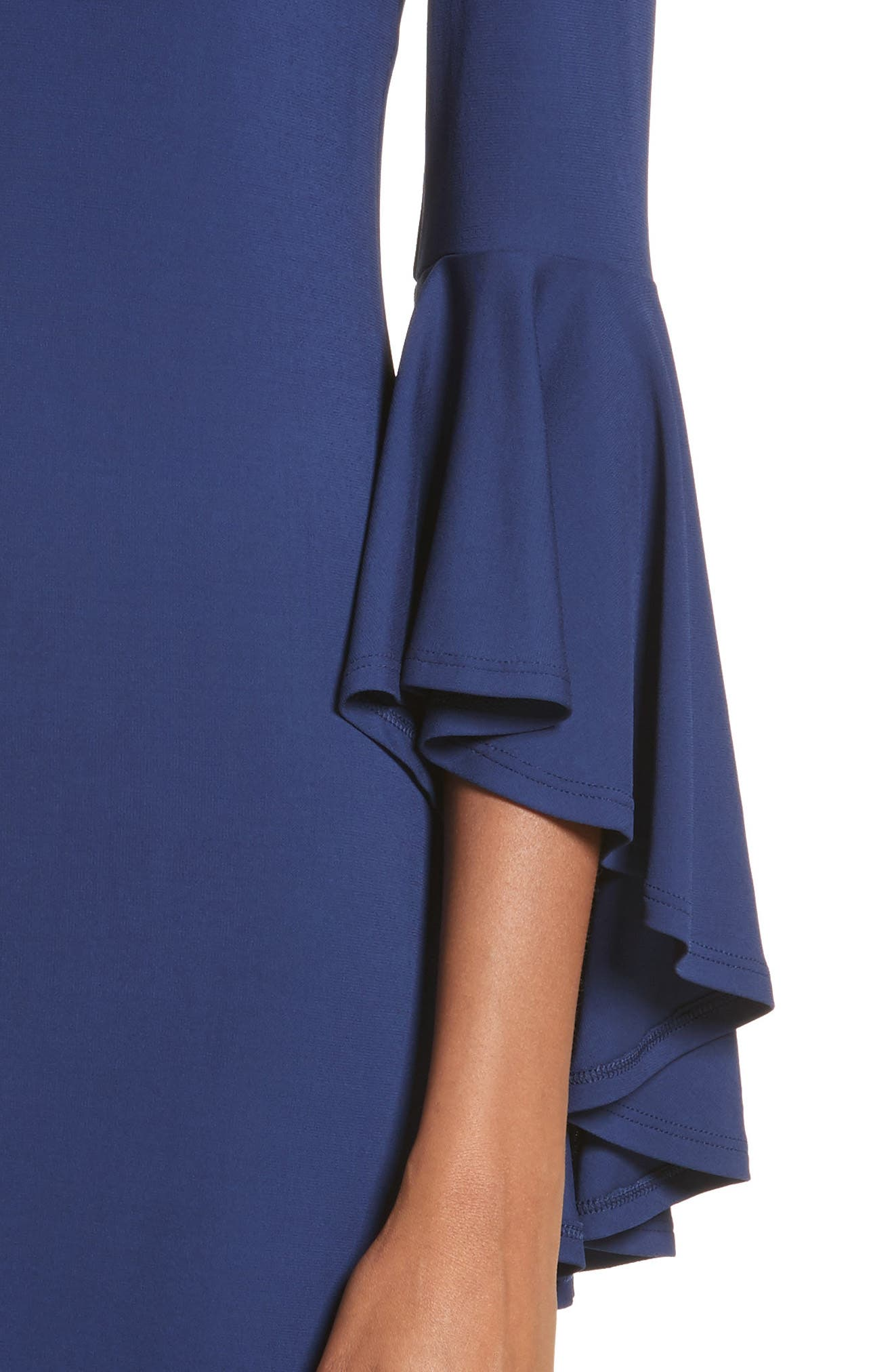 Cascade Sleeve Sheath Dress,                             Alternate thumbnail 4, color,                             Sapphire