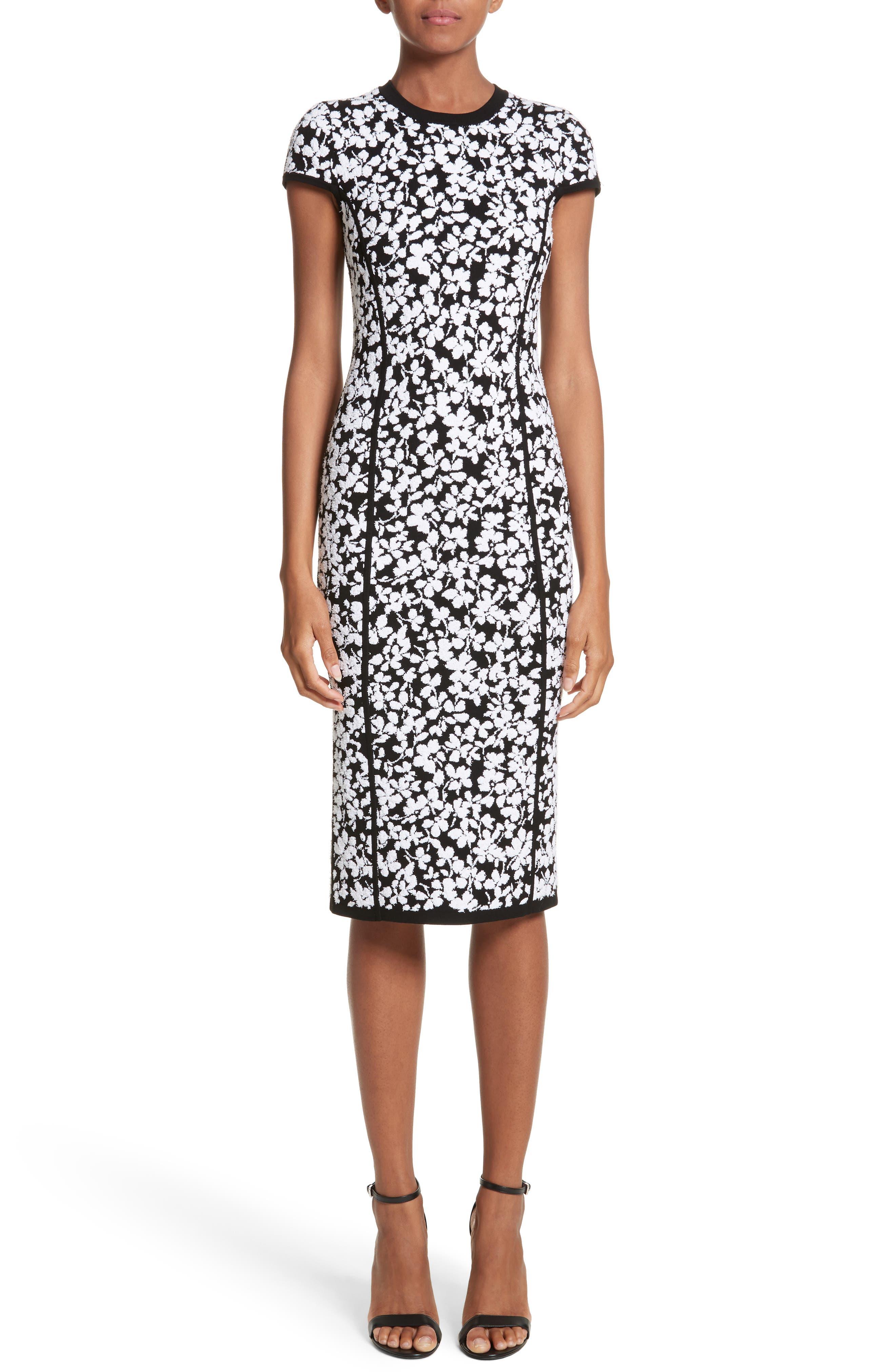 Floral Jacquard Sheath Dress,                             Main thumbnail 1, color,                             Black