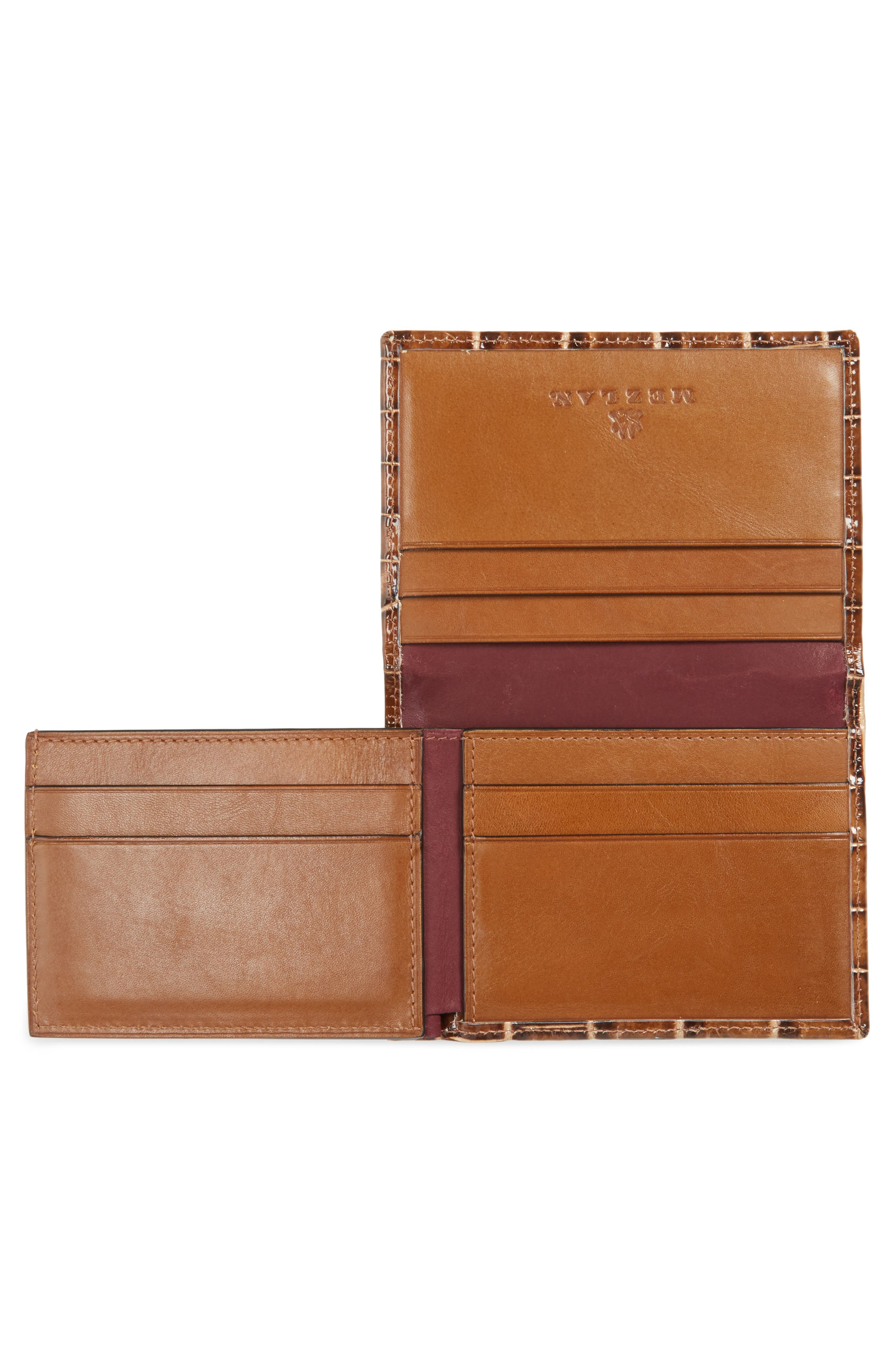 Alligator Leather Trifold Wallet,                             Alternate thumbnail 2, color,                             Honey/ Beige