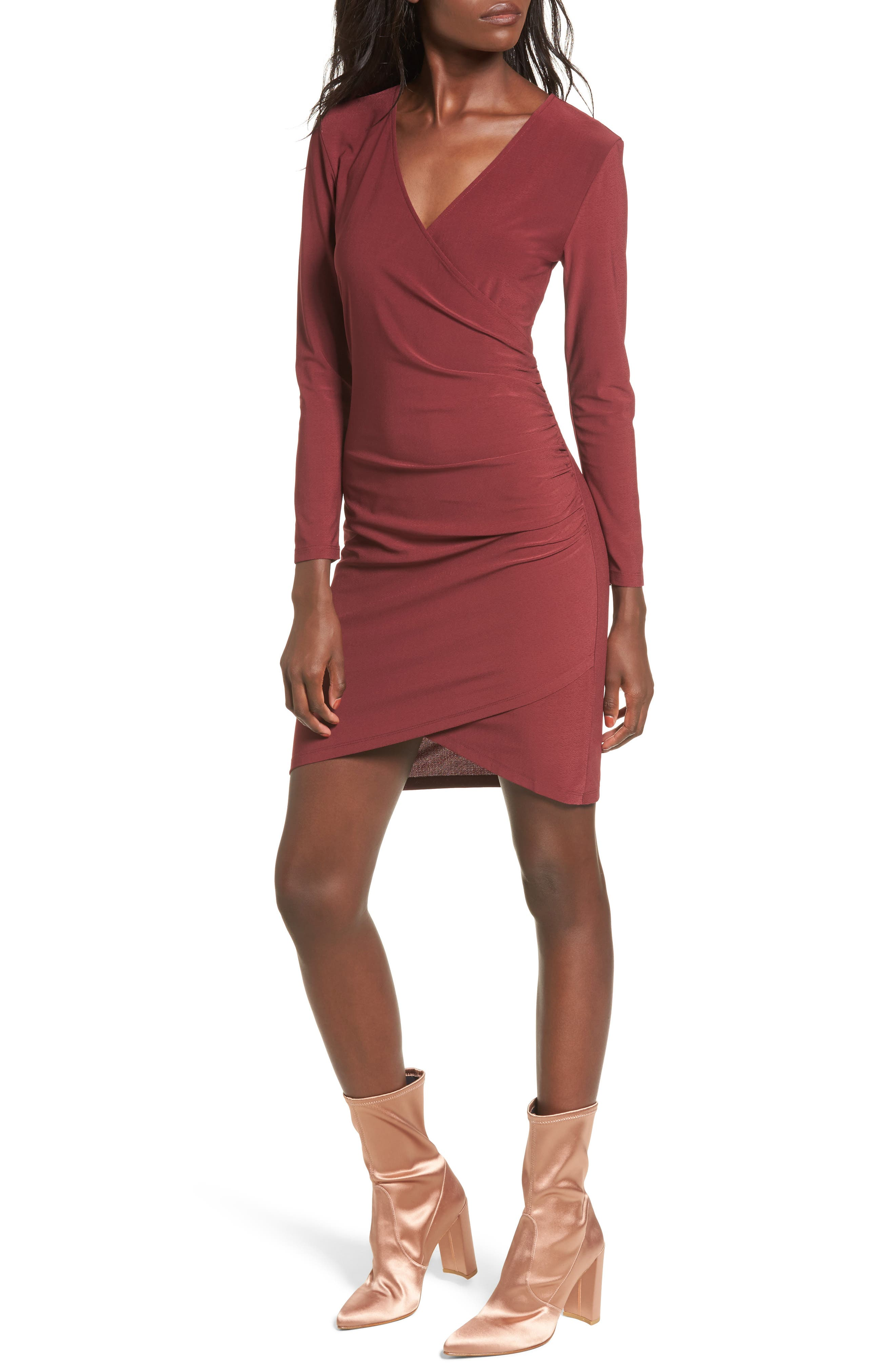 Ruched Sheath Dress,                             Main thumbnail 1, color,                             Red Tannin